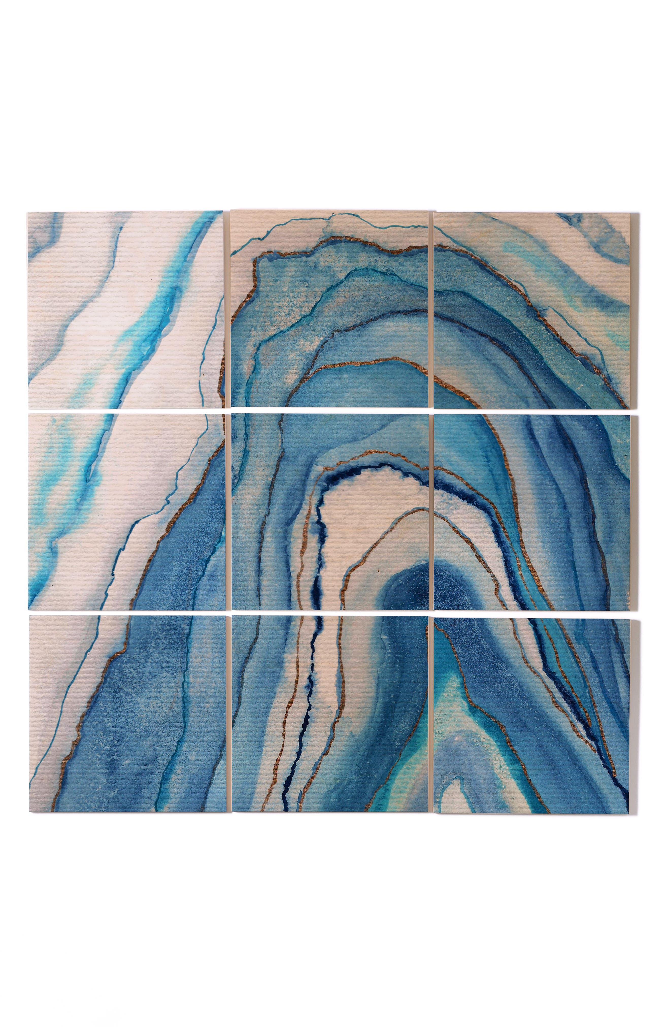 Watercolor 9-Piece Wood Wall Mural,                             Main thumbnail 1, color,                             Blue