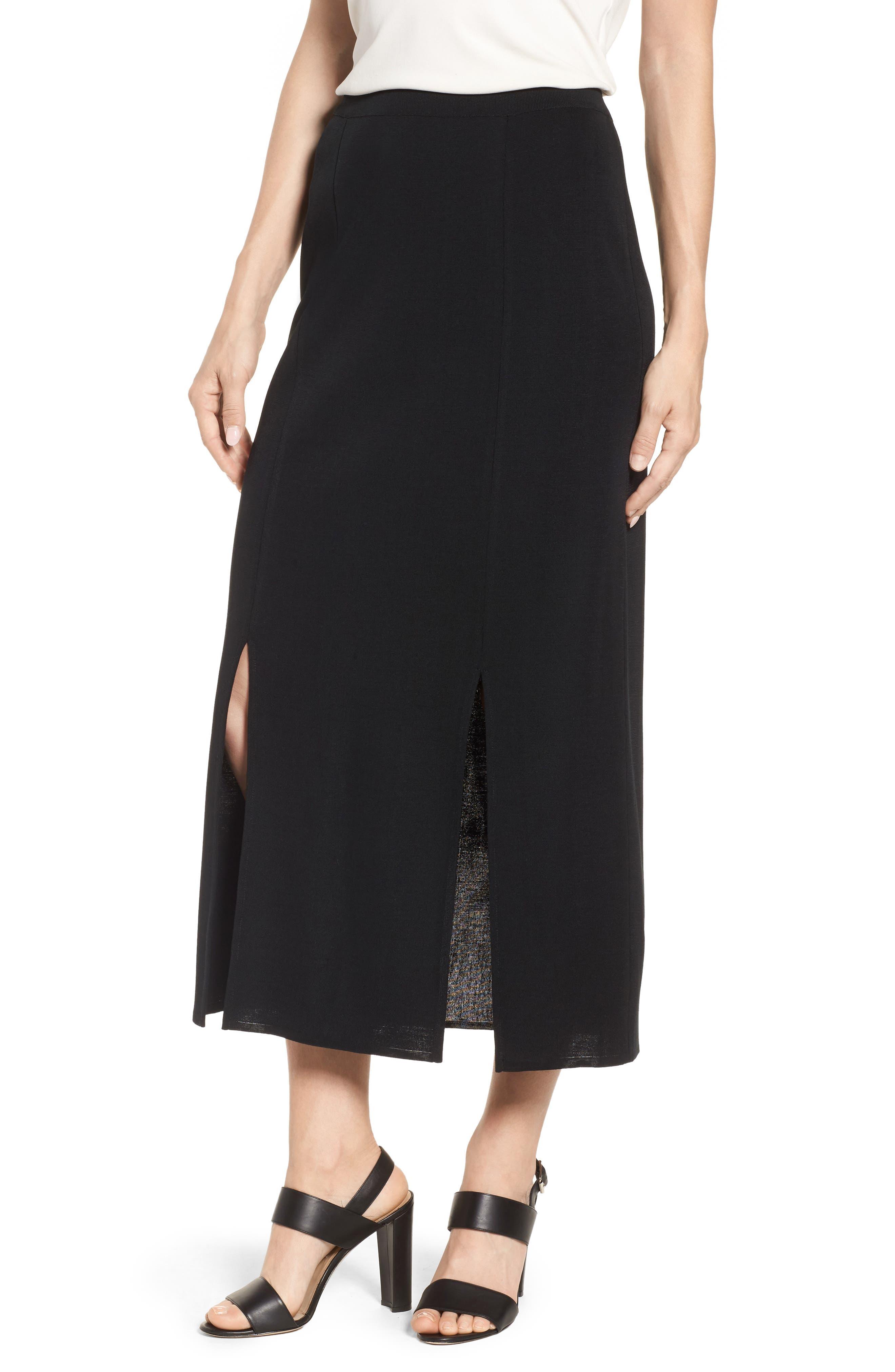 Double Slit Maxi Skirt,                         Main,                         color, Black