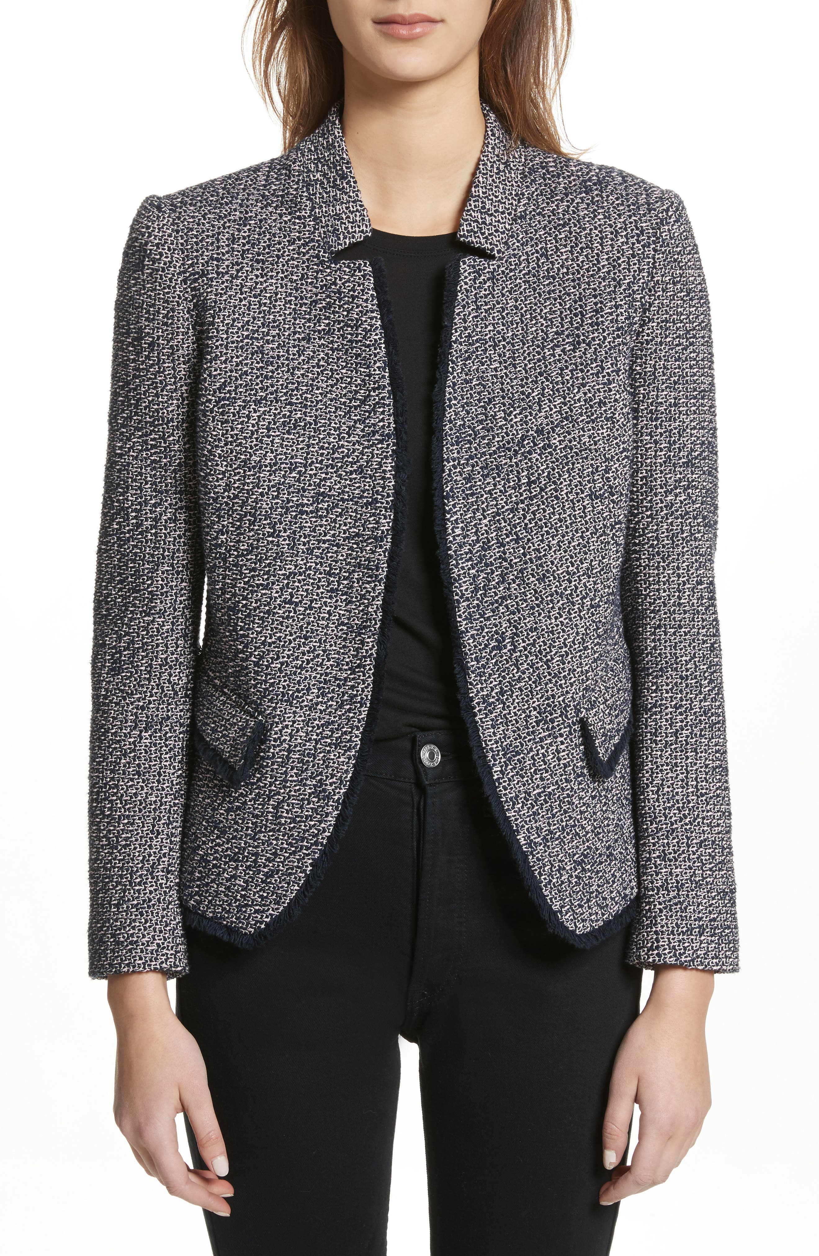 Notch Collar Tweed Jacket,                             Main thumbnail 1, color,                             Navy/ Pink
