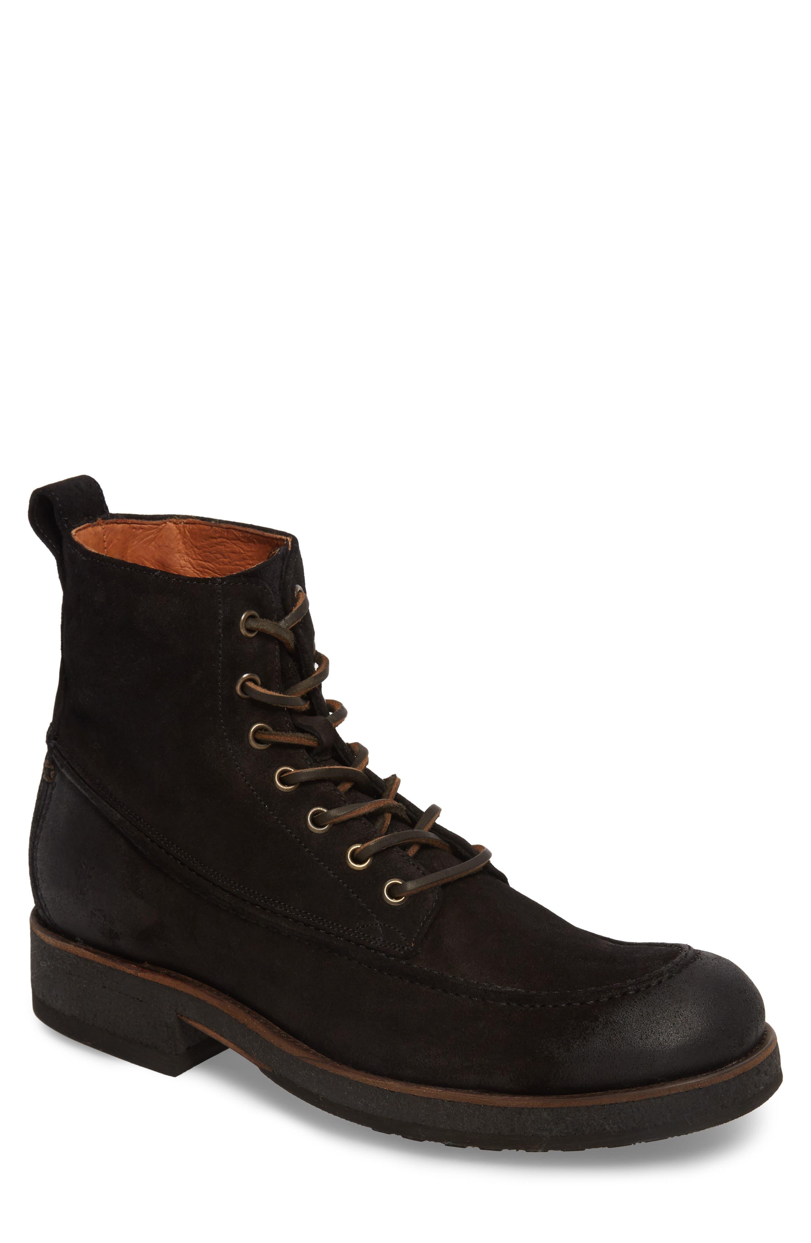 Rainier Waxed Work Boot,                         Main,                         color, Black Waxed Suede