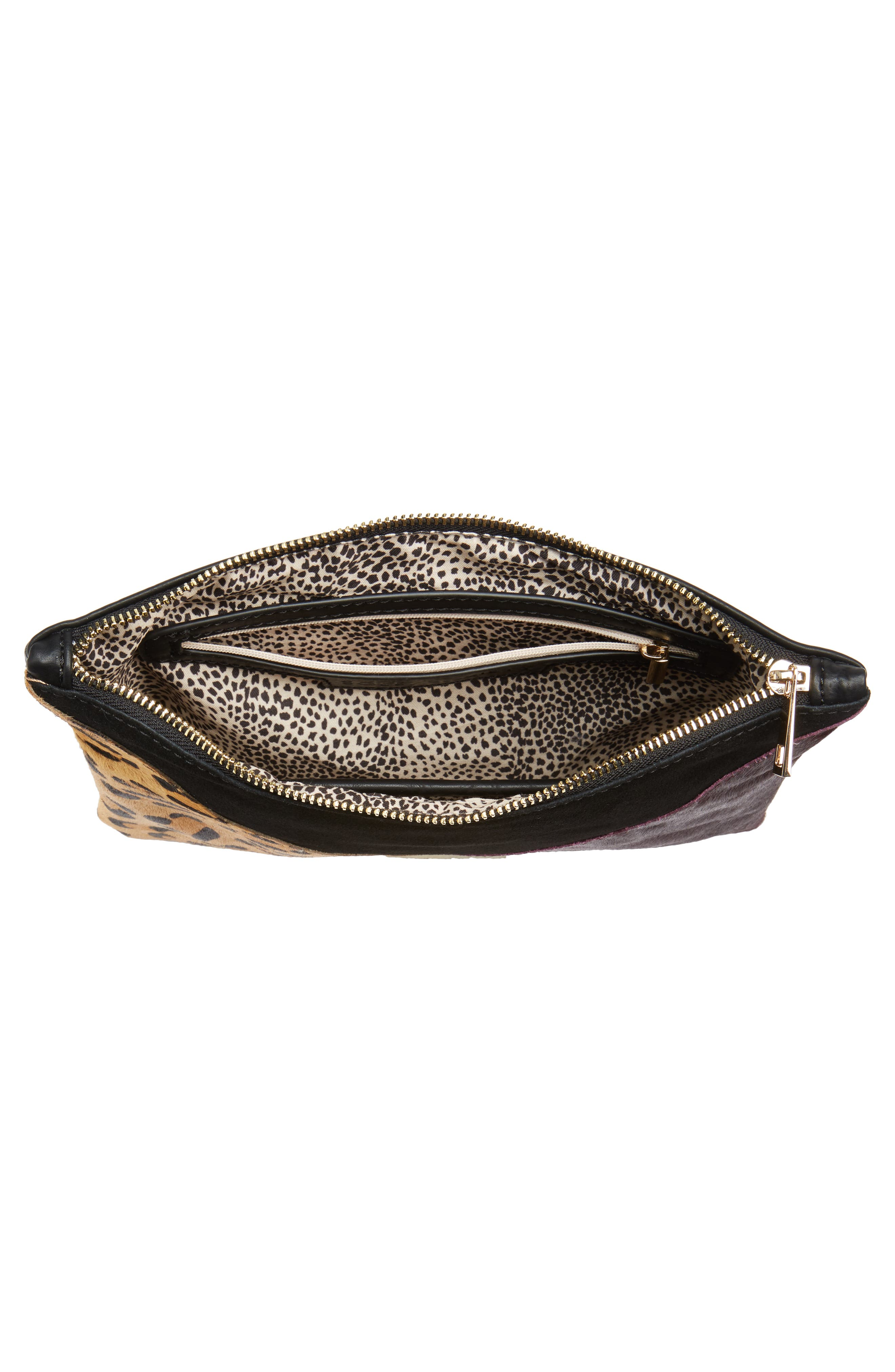 Shailey Patchwork Genuine Calf Hair Clutch,                             Alternate thumbnail 4, color,                             Leopard Multi