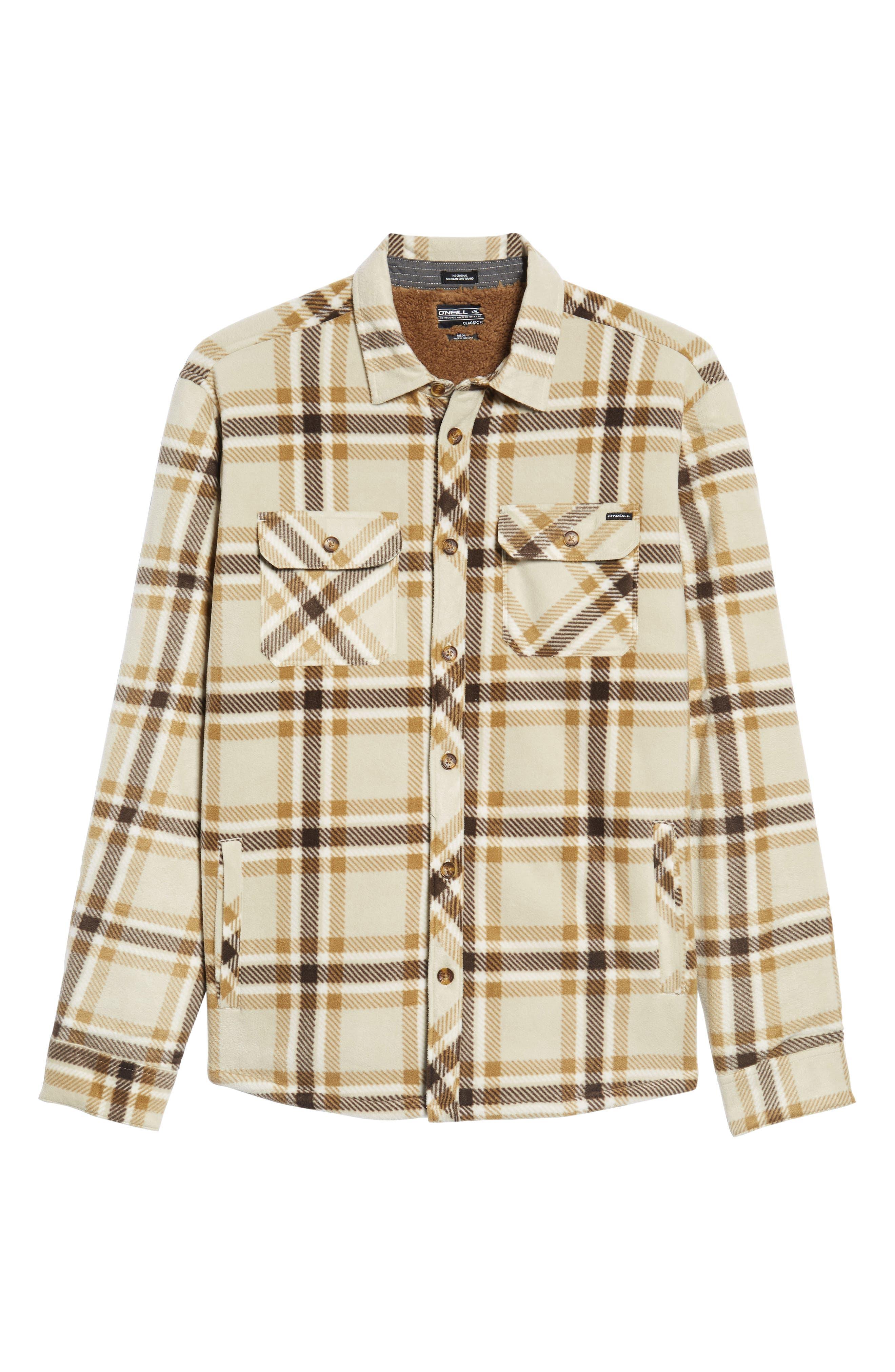 Glacier Heat Dome Plaid Fleece Shirt,                             Alternate thumbnail 6, color,                             Stone