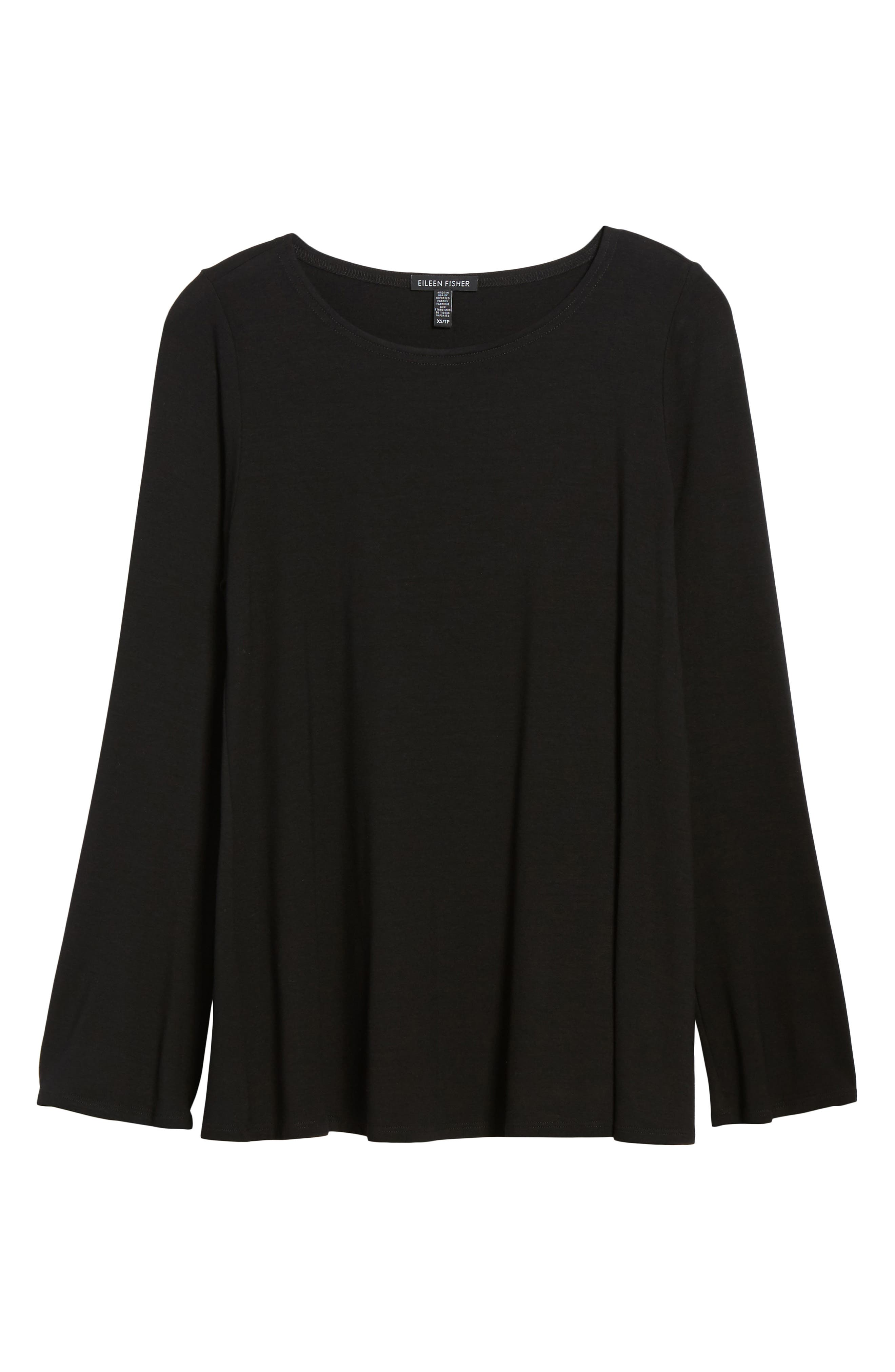 Ballet Neck Jersey Top,                         Main,                         color, Black