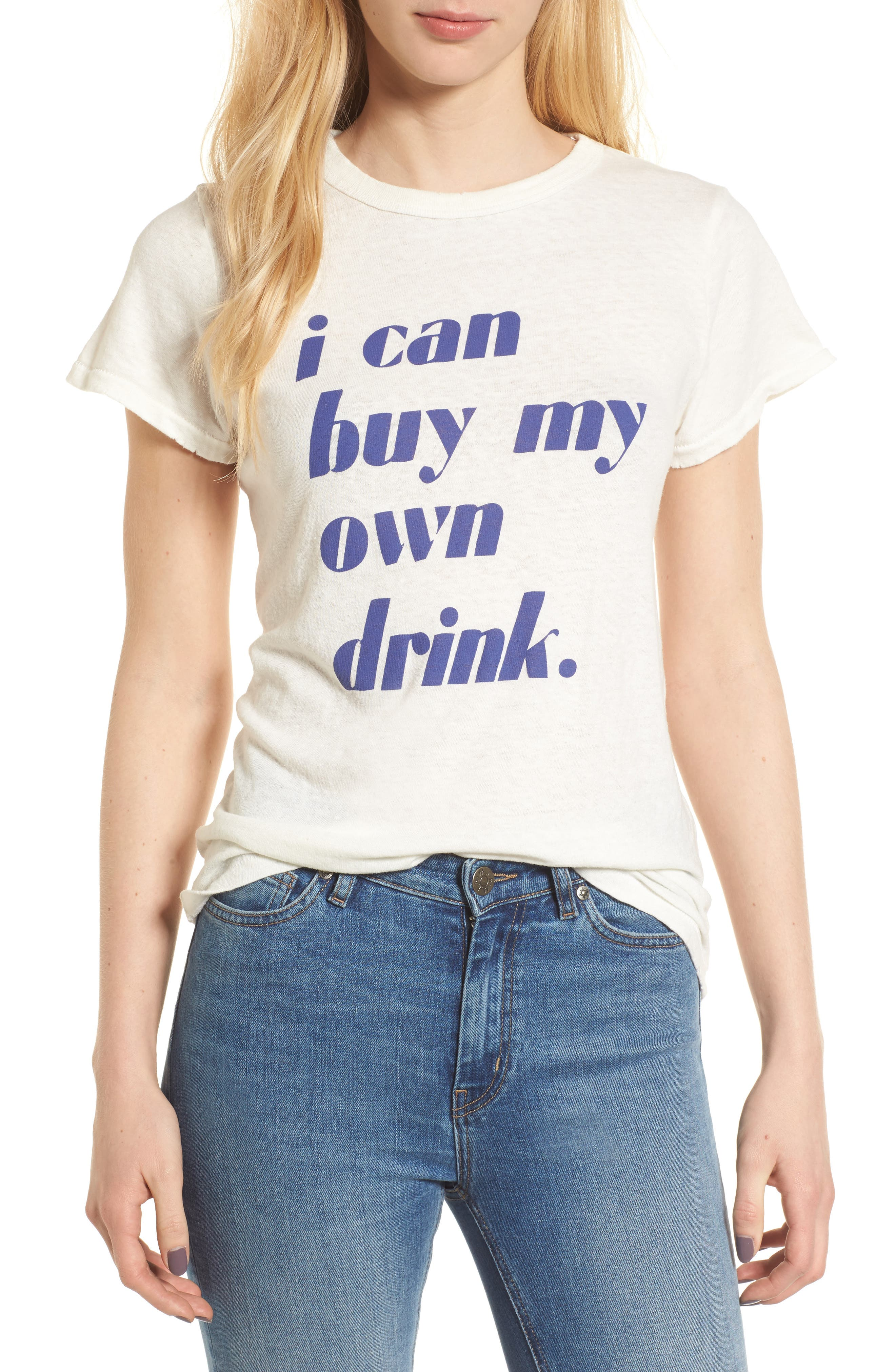 I Can Buy My Own Drink Tee,                             Main thumbnail 1, color,                             Ivory