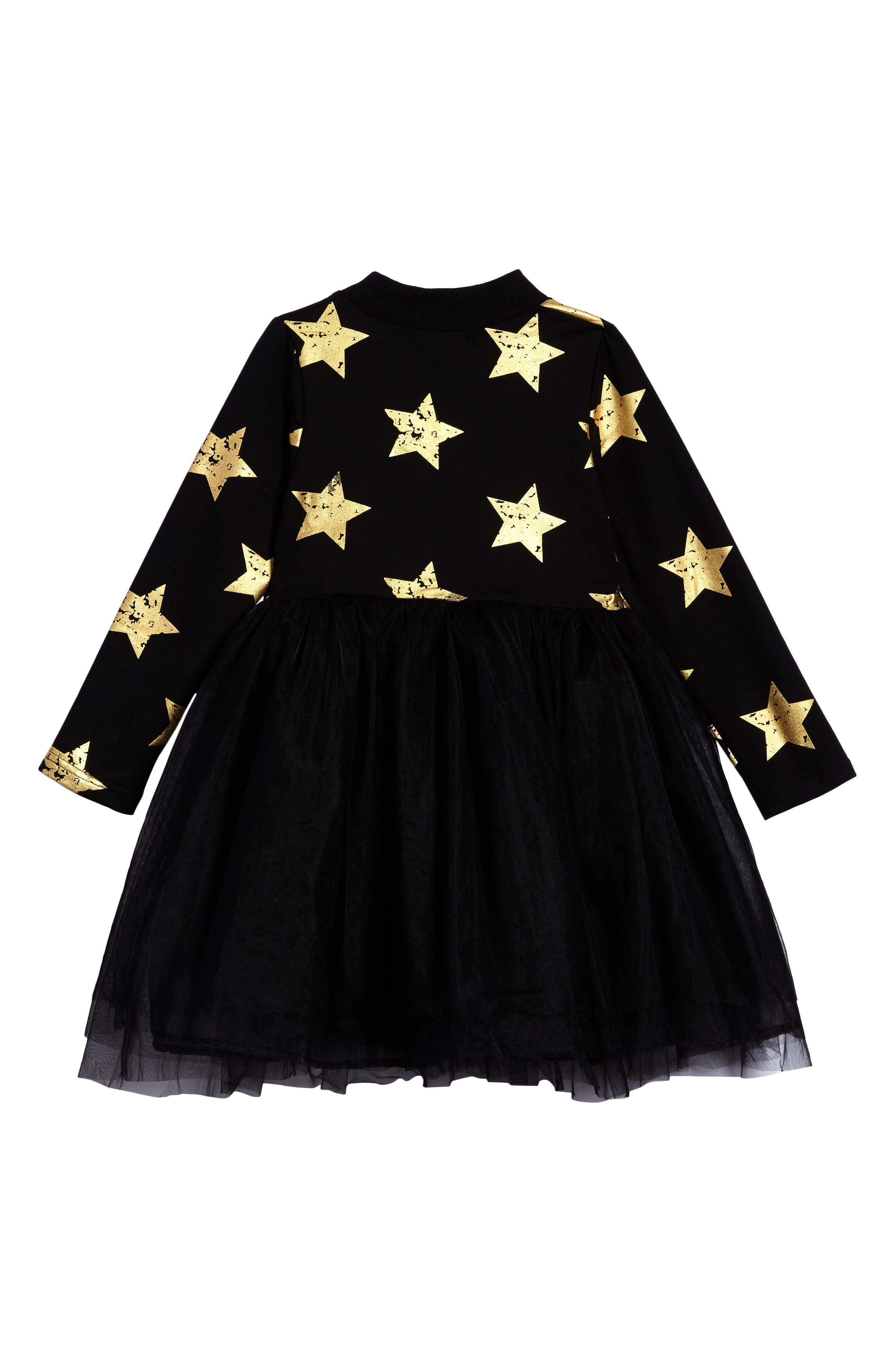 Star Tulle Party Dress,                             Alternate thumbnail 2, color,                             Black