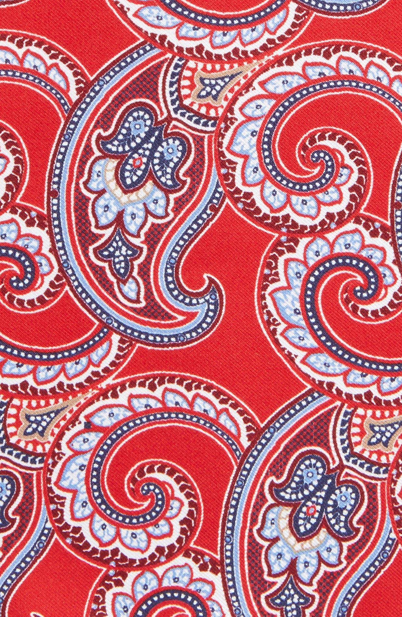 Four Panel Silk Pocket Square,                             Alternate thumbnail 2, color,                             Red