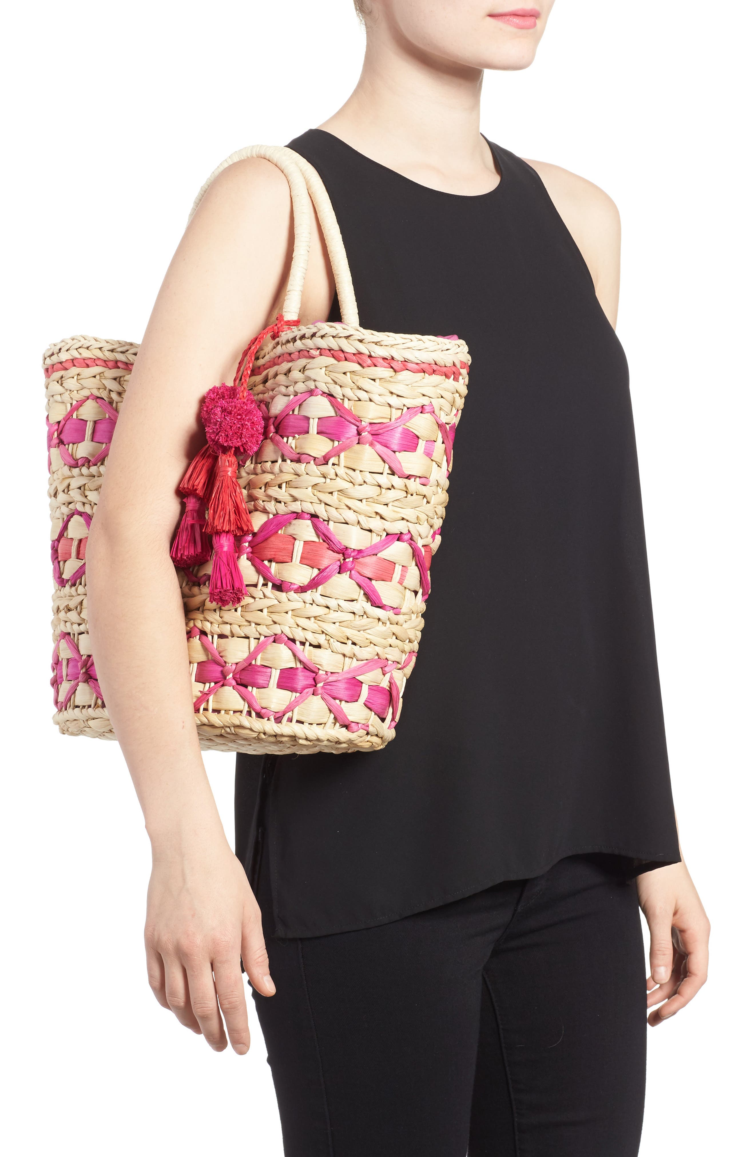 Color Pop Woven Tote,                             Alternate thumbnail 2, color,                             Natural