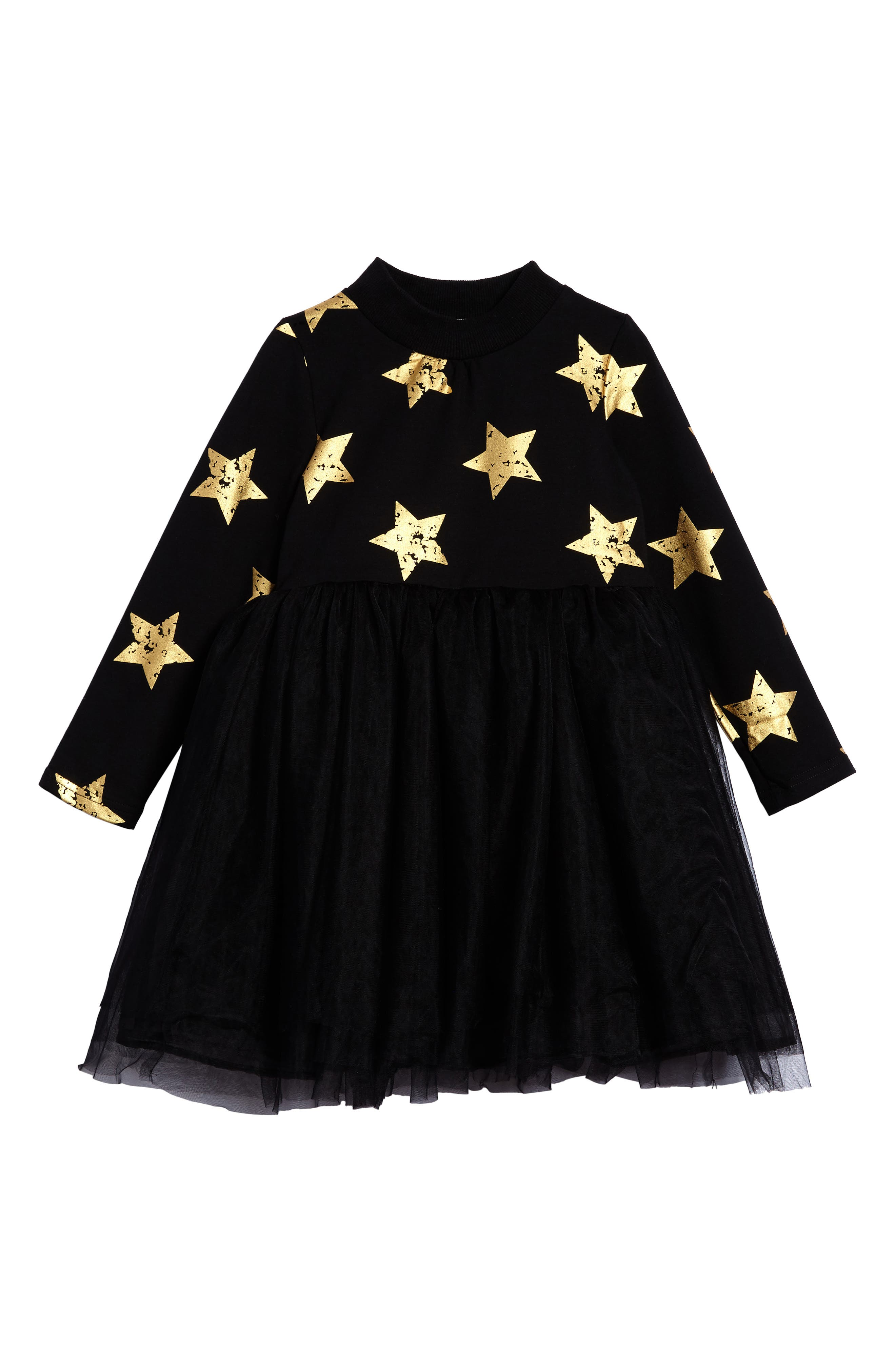 Star Tulle Party Dress,                             Main thumbnail 1, color,                             Black