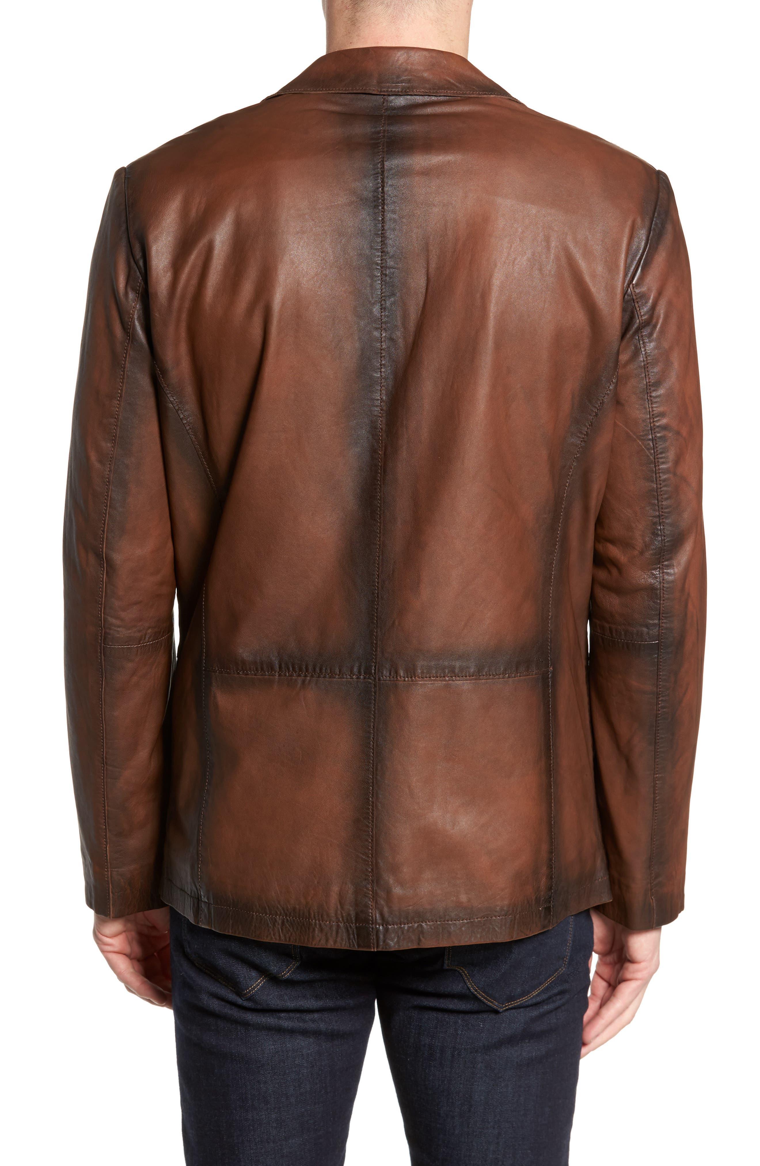 Vintage Leather Blazer,                             Alternate thumbnail 2, color,                             Brown