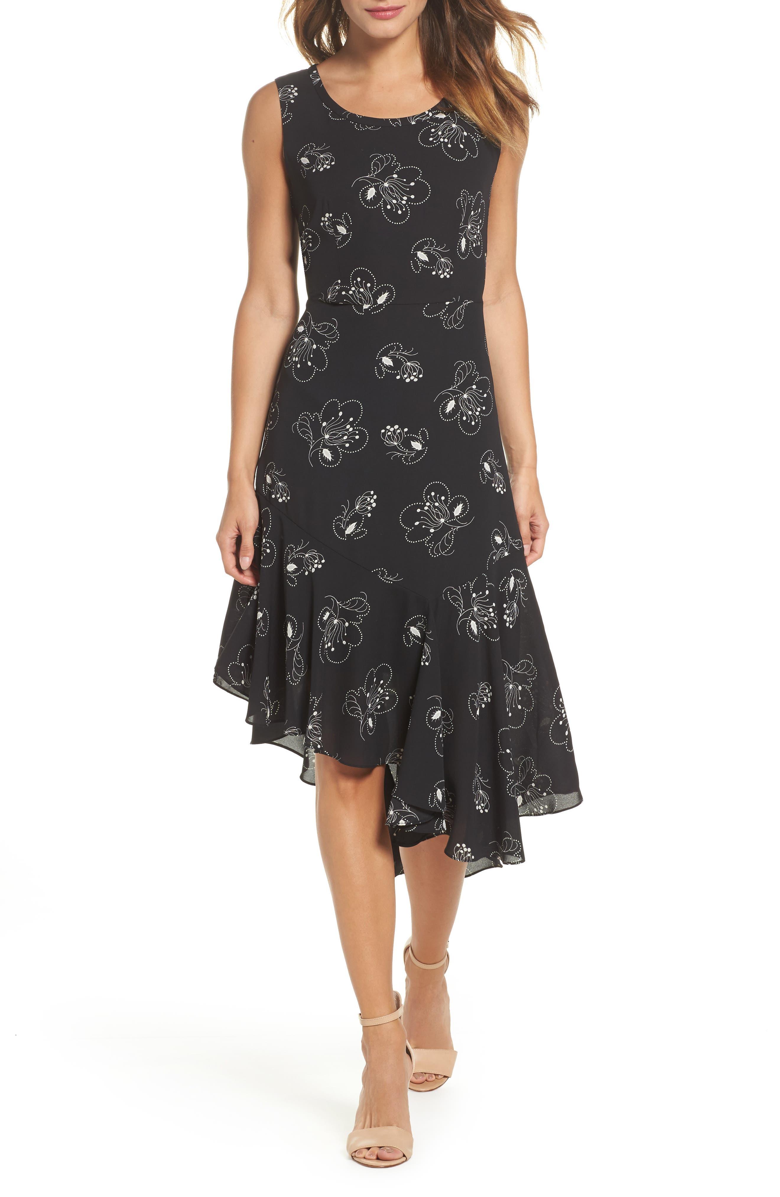 Briana Asymmetrical Hem Dress,                         Main,                         color, Black Multi