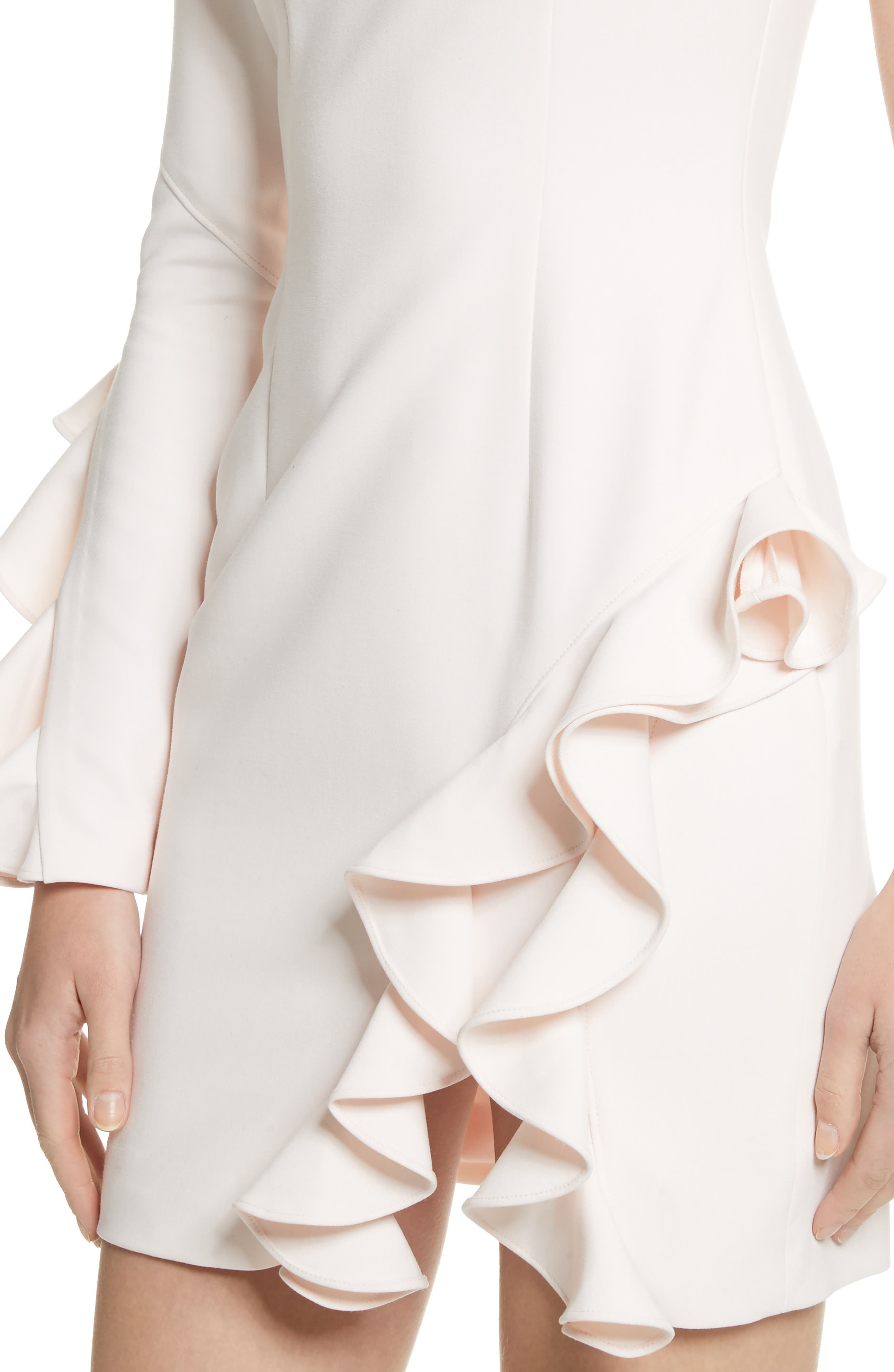 Pia Ruffle Trim One-Shoulder Dress,                             Alternate thumbnail 4, color,                             Pearl Blush
