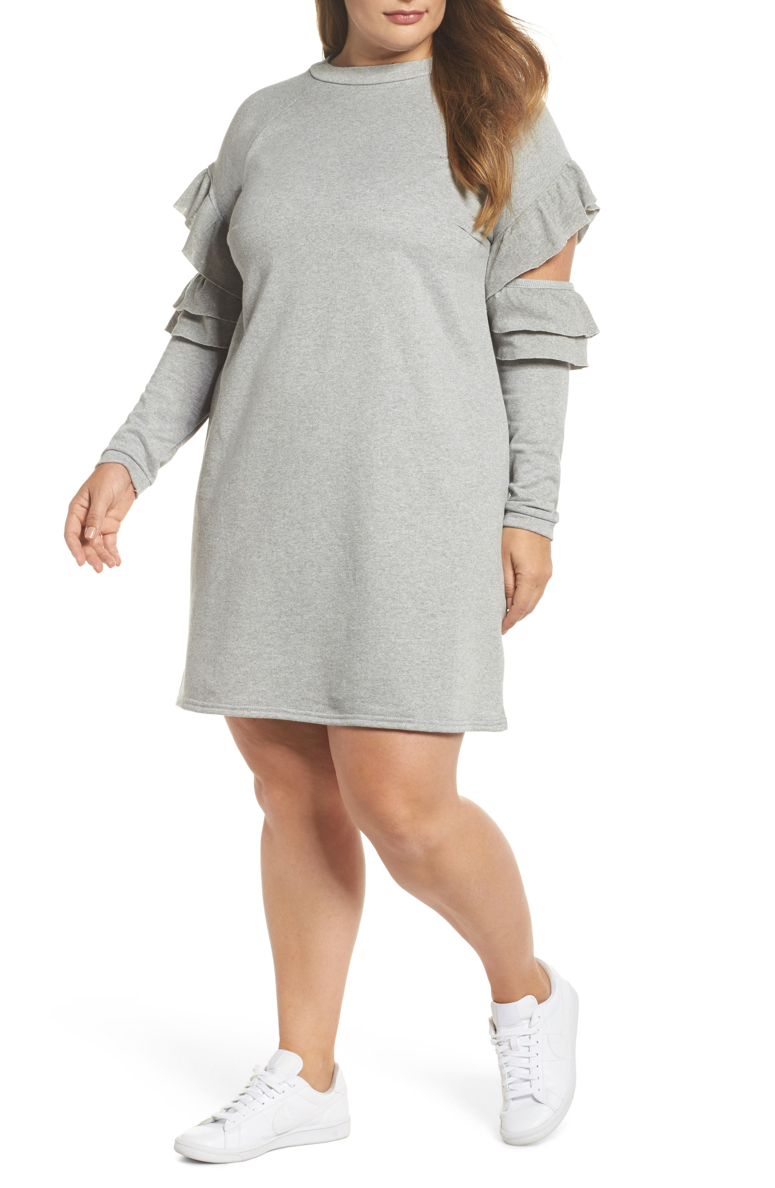 Ruffle Sleeve French Terry Dress,                             Main thumbnail 1, color,                             Light Grey