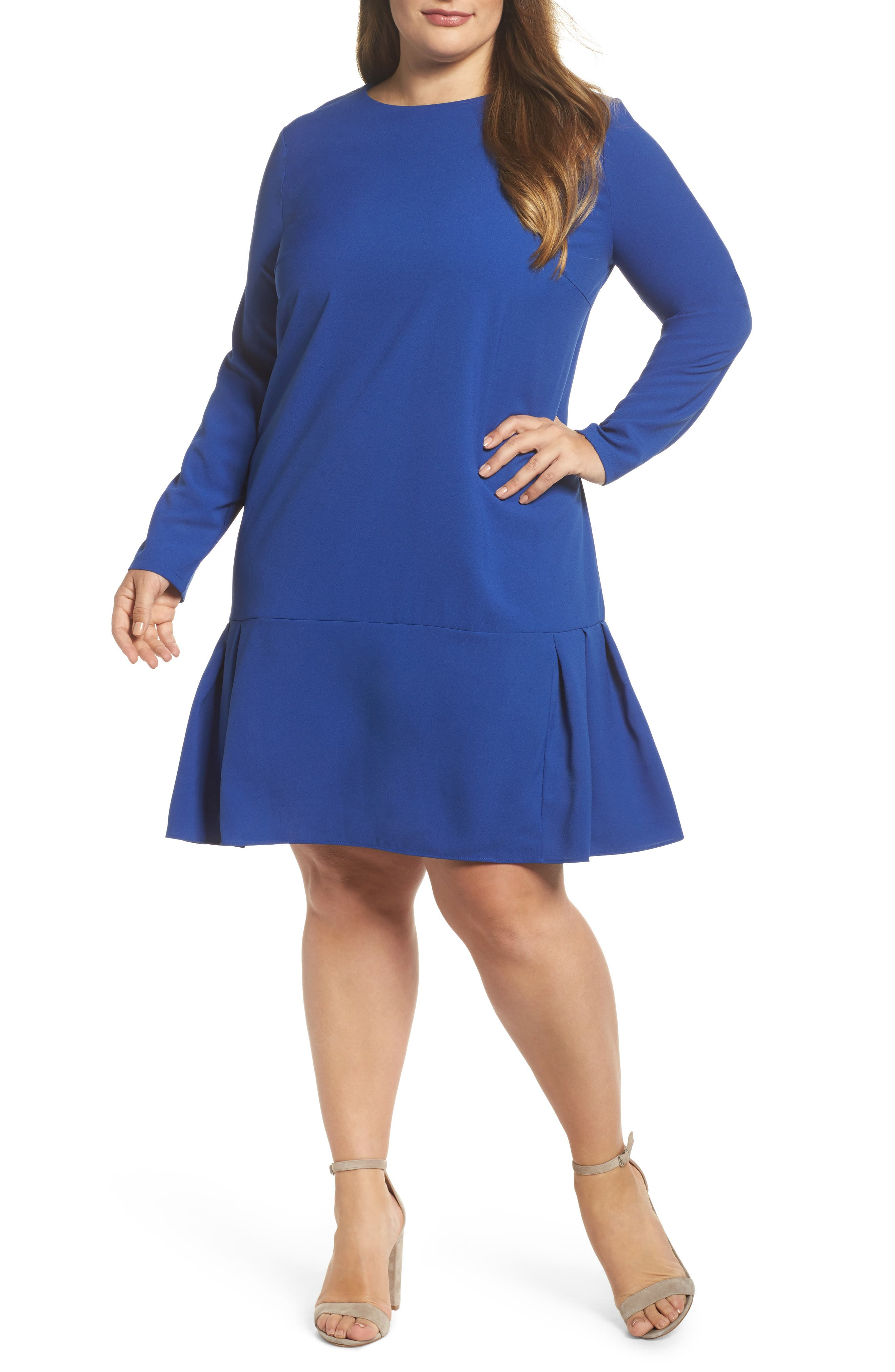 Long Sleeve Shift Dress,                         Main,                         color, Cobalt