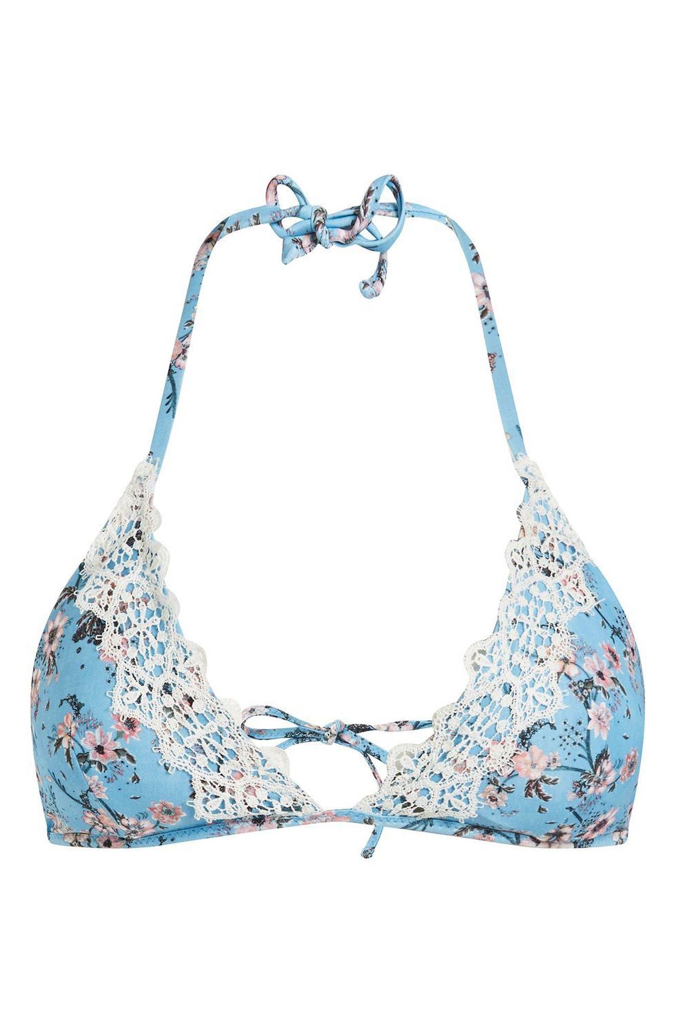 Alternate Image 3  - Topshop Ditsy Lace Trim Triangle Bikini Top