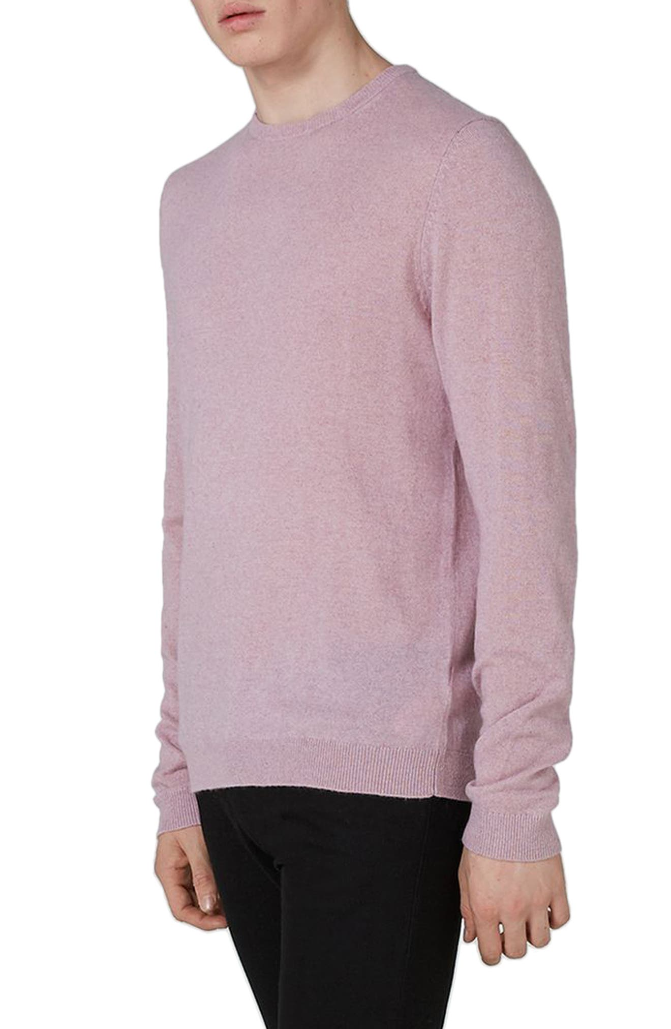 Crewneck Sweater,                         Main,                         color, Pink
