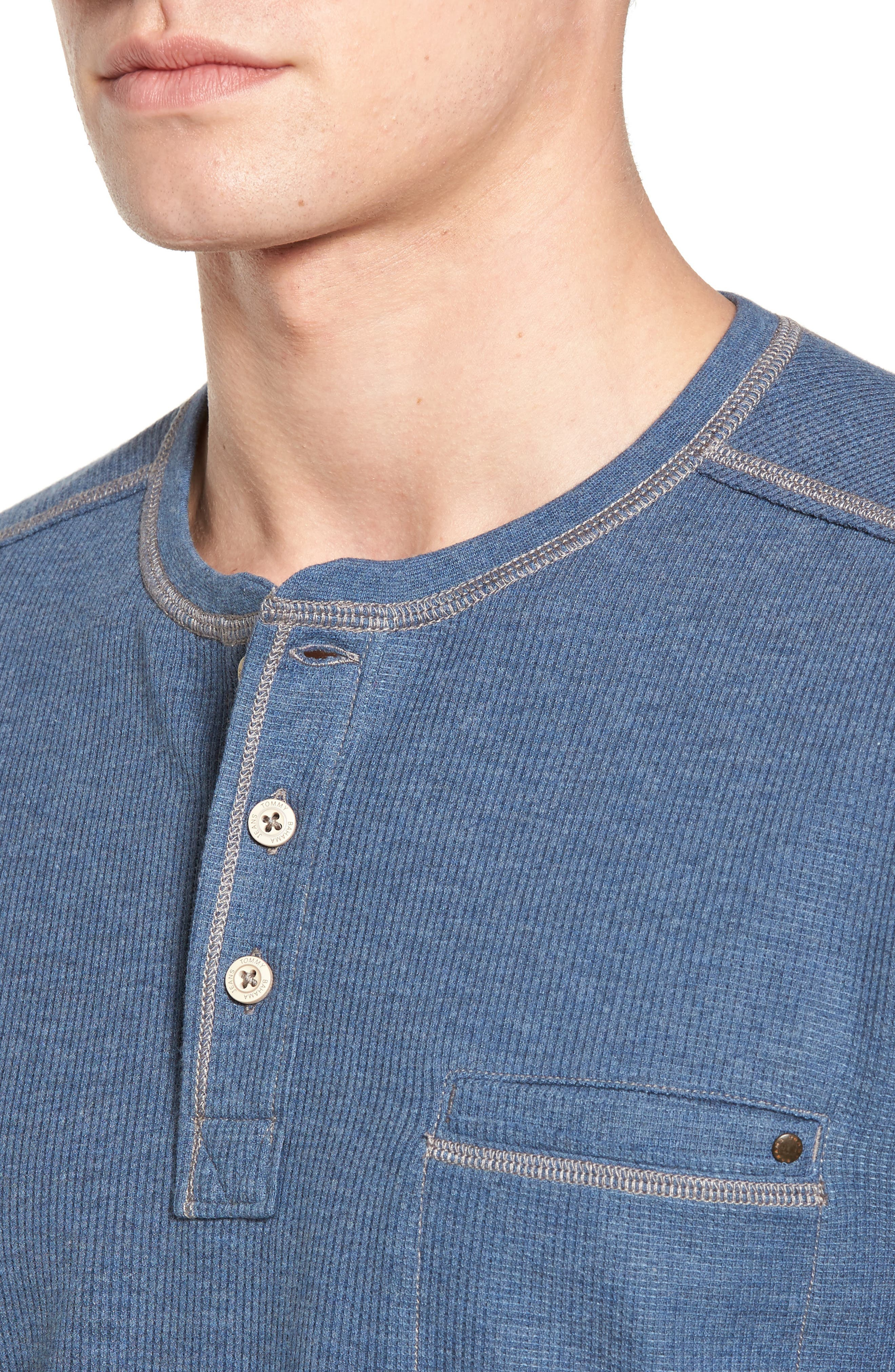 Island Thermal Standard Fit Thermal Henley,                             Alternate thumbnail 4, color,                             Cadet Heather