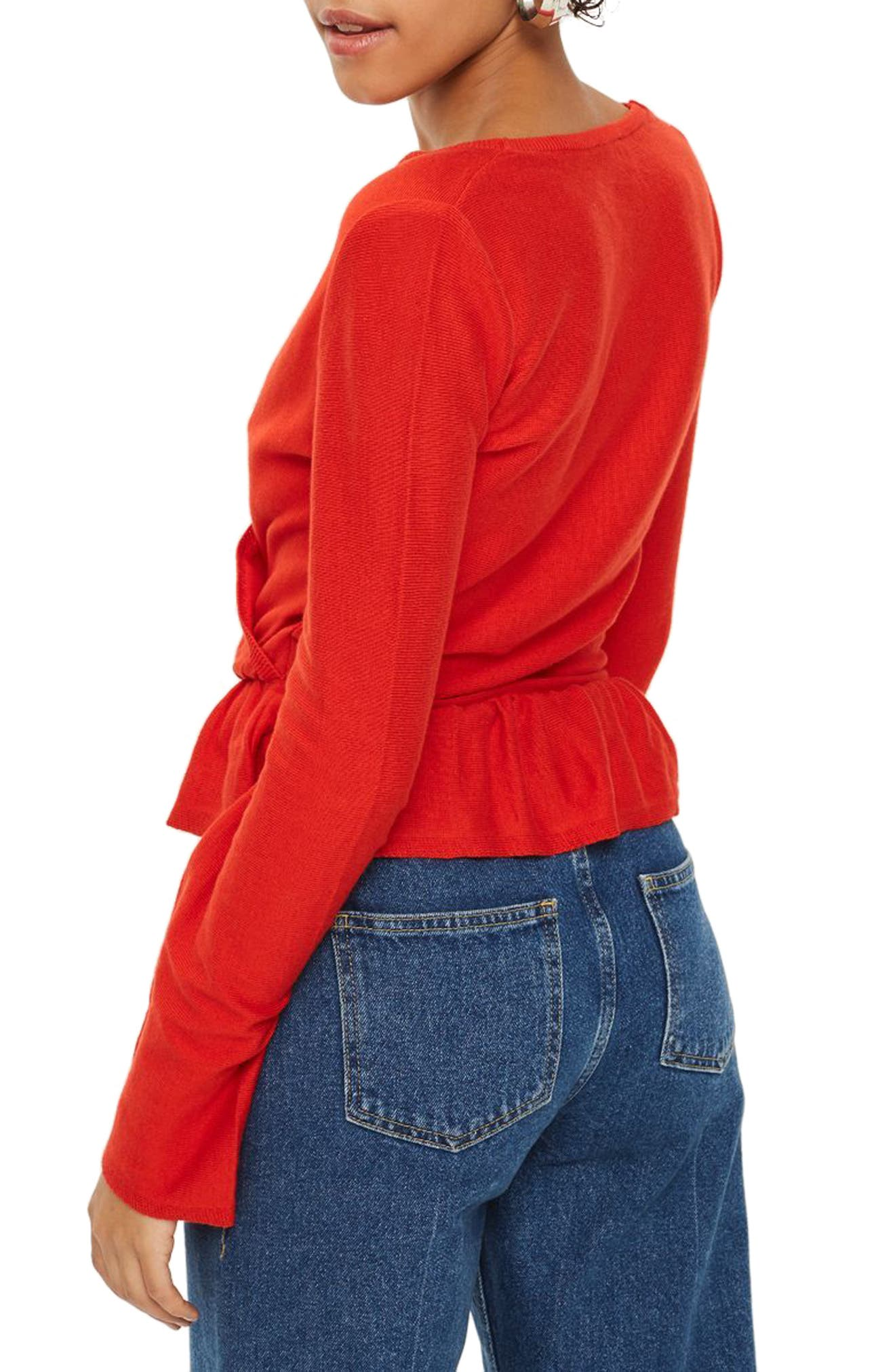 Peplum Wrap Sweater,                             Alternate thumbnail 2, color,                             Red