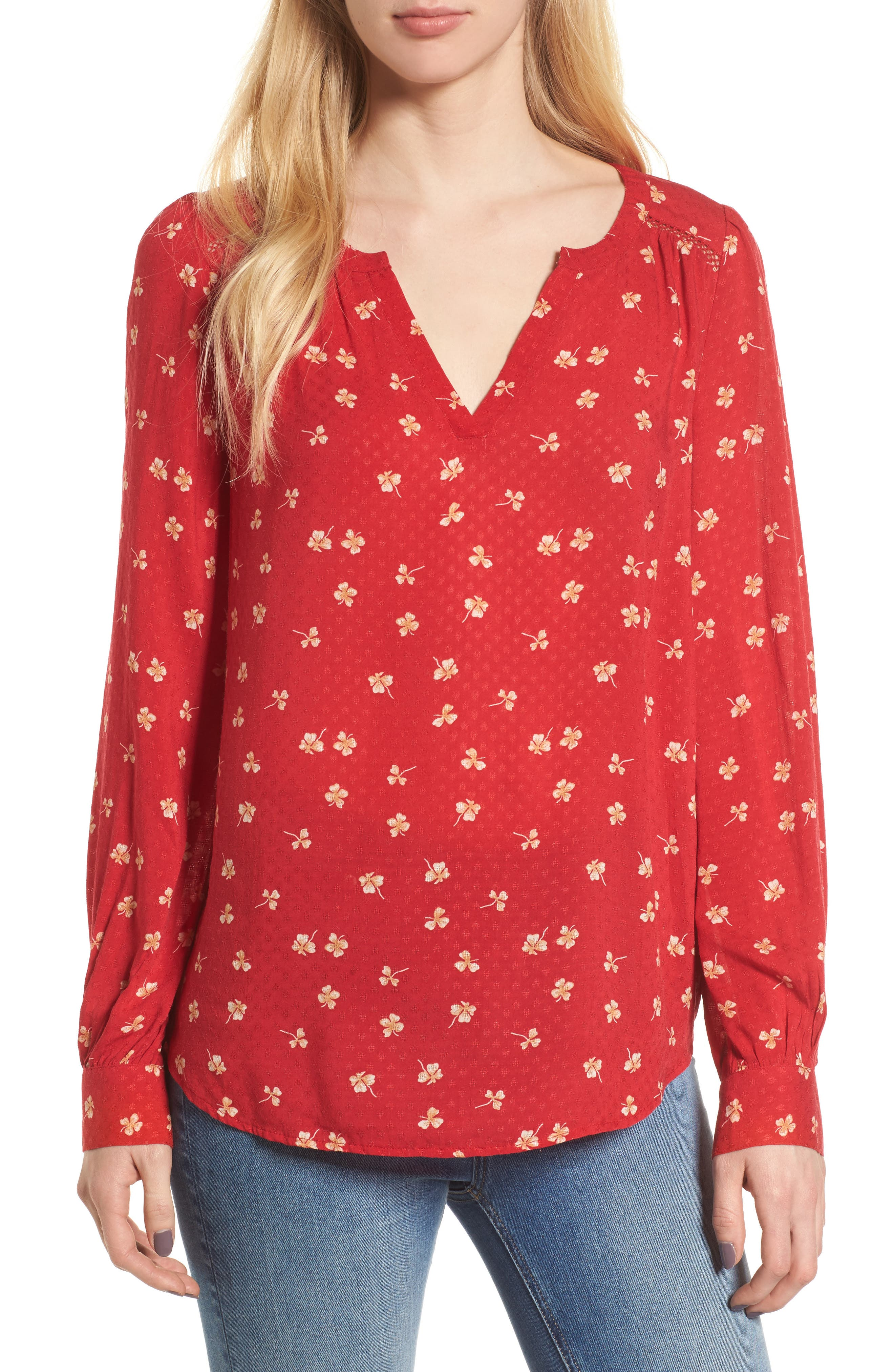 Print Popover Blouse,                         Main,                         color, Red Lipstick Lucky Clover