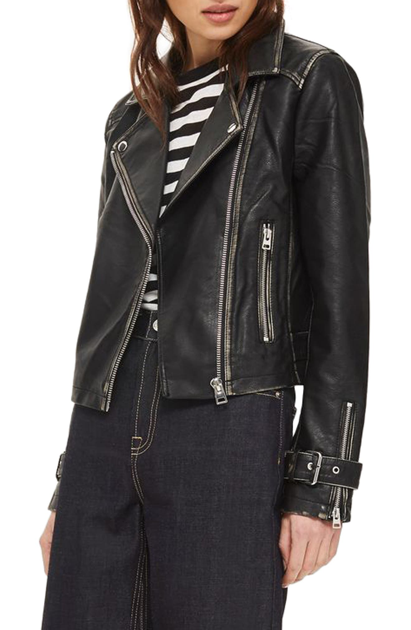 Main Image - Topshop Washed Wolf Zipper Moto Jacket