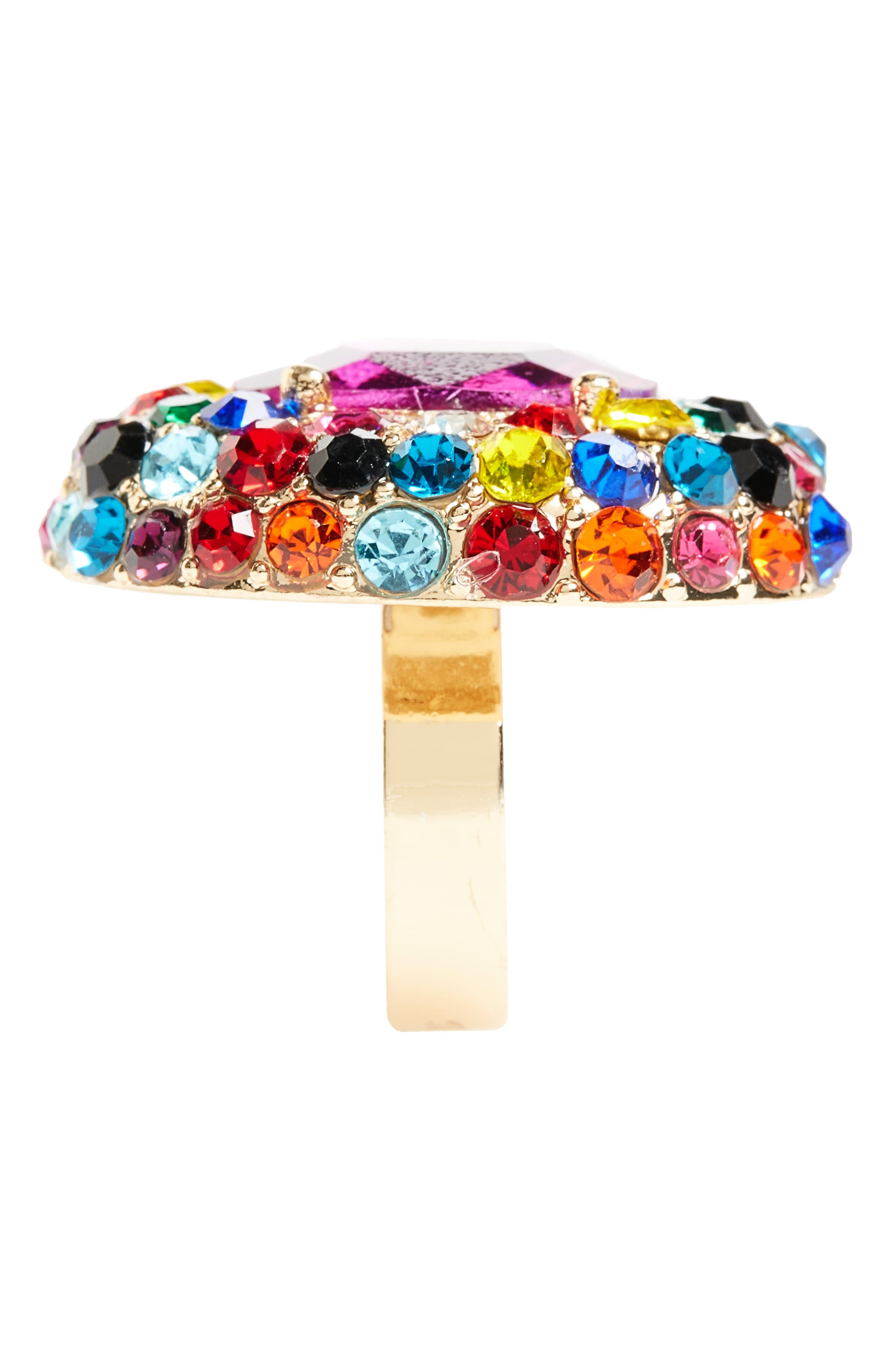Crystal Adjustable Ring,                             Alternate thumbnail 2, color,                             Gold/ Multi