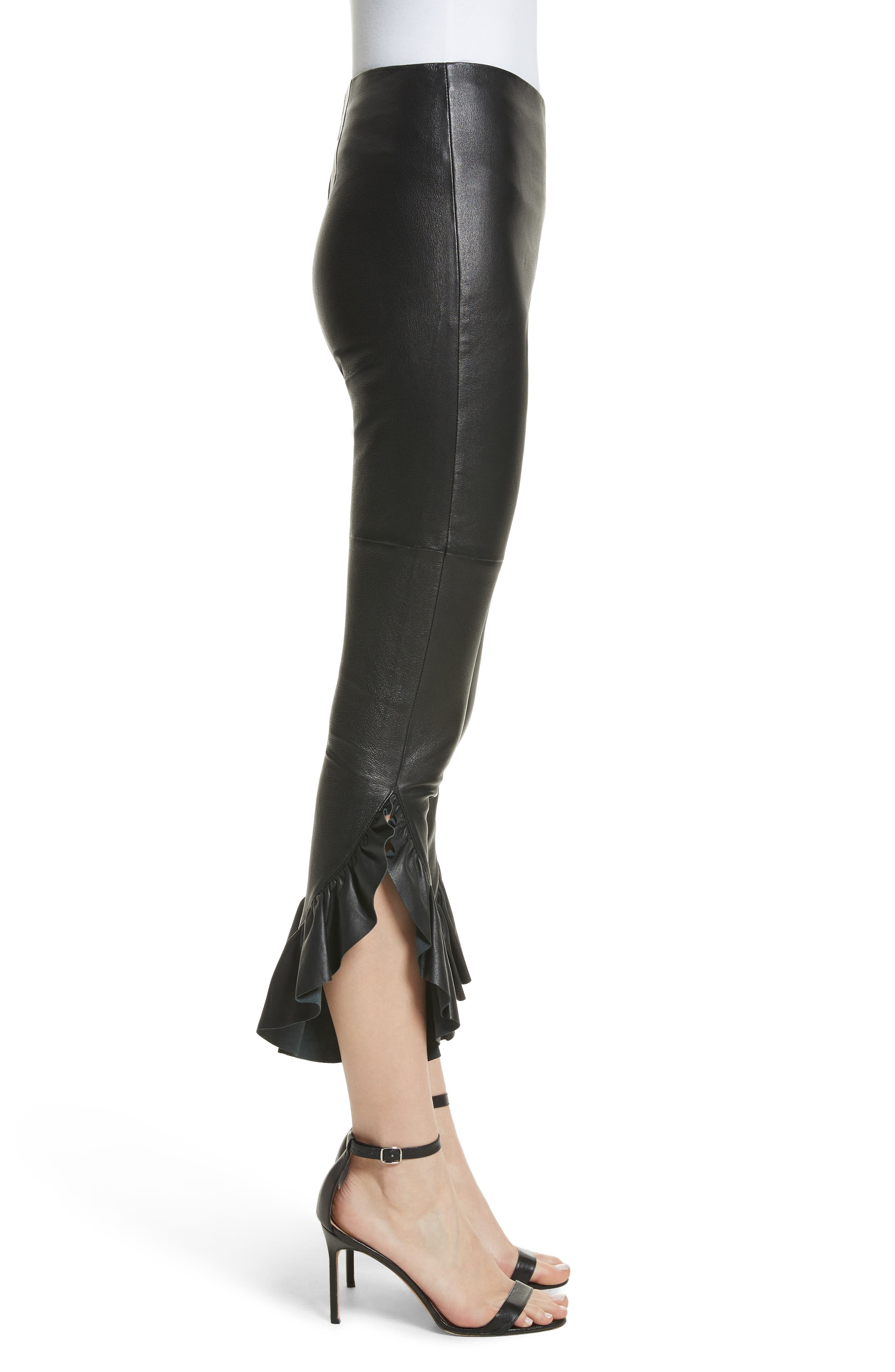 Gionata Ruffle Hem Leather Pants,                             Alternate thumbnail 3, color,                             Black