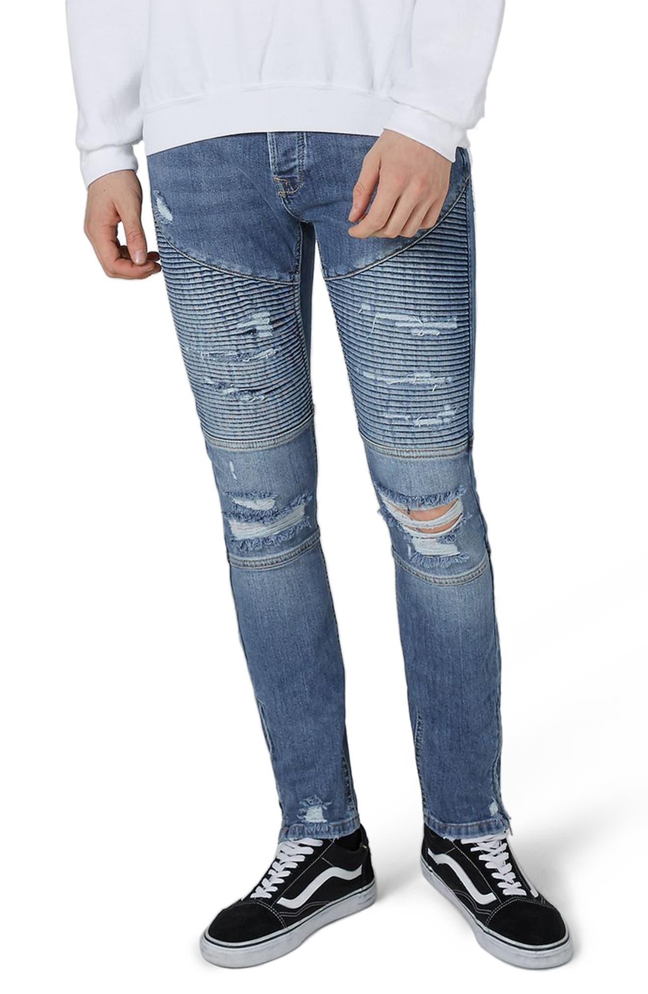 Ripped Zip Skinny Biker Jeans,                         Main,                         color, Blue