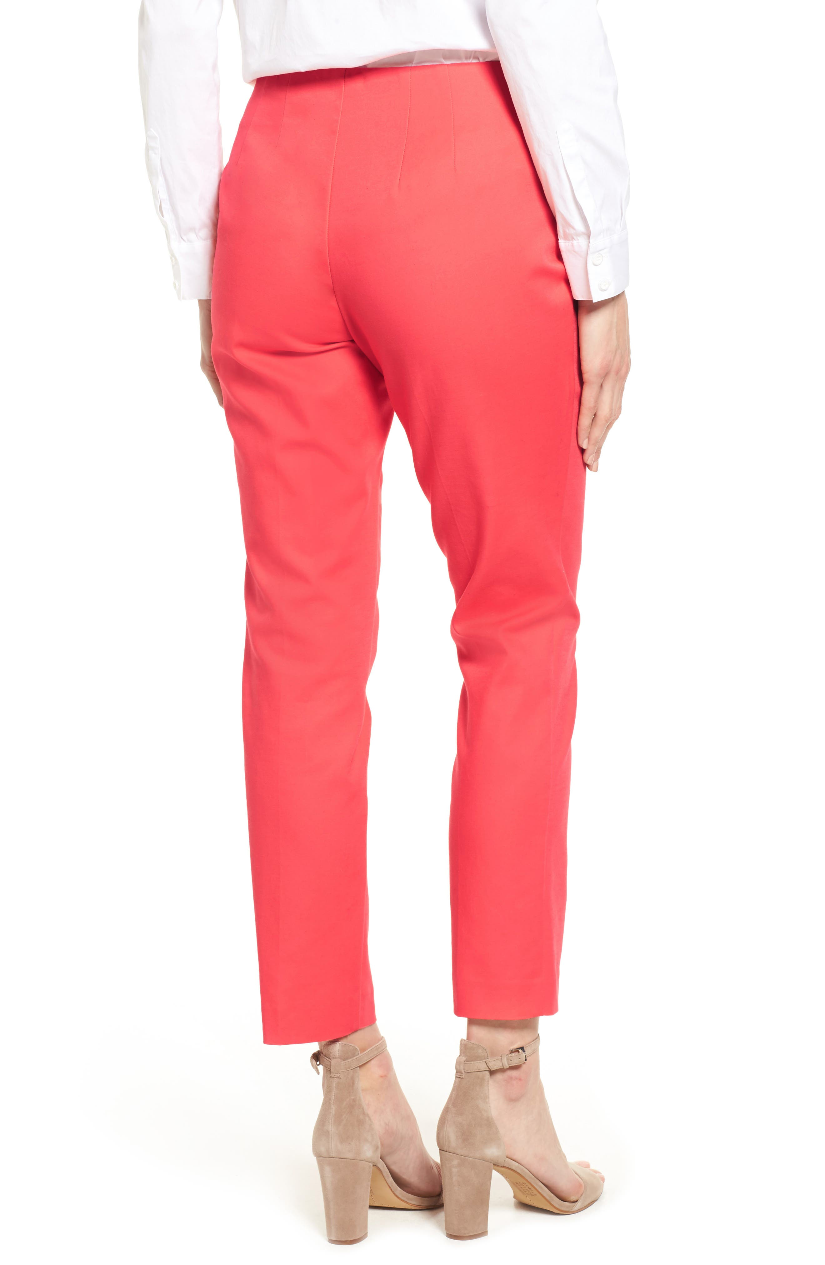 Stretch Cotton Skinny Pants,                             Alternate thumbnail 3, color,                             Melon