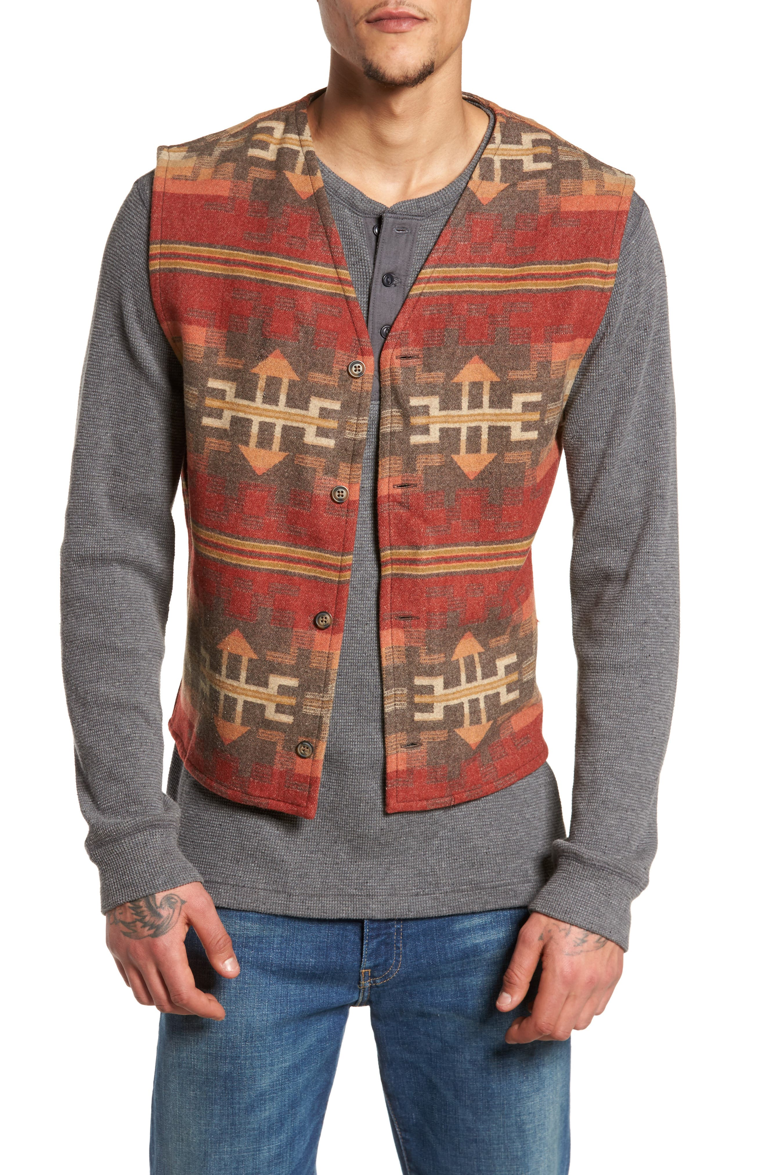 Denim Jacket with Removable Wool Vest,                             Alternate thumbnail 4, color,                             Denim With Broken Arrow Red