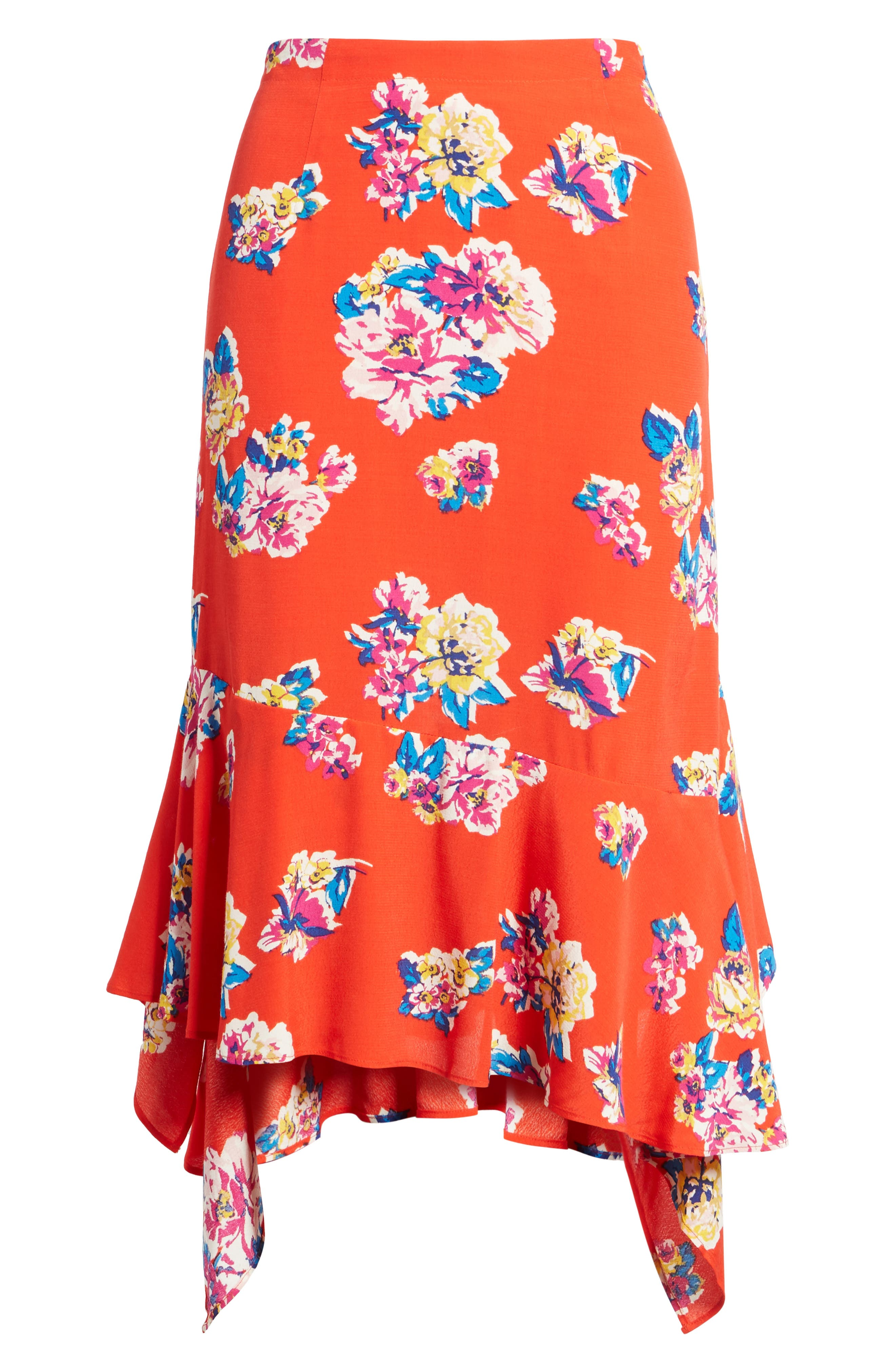 Floral Ruffle Hem Skirt,                             Alternate thumbnail 6, color,                             Red Field Bold Bloom