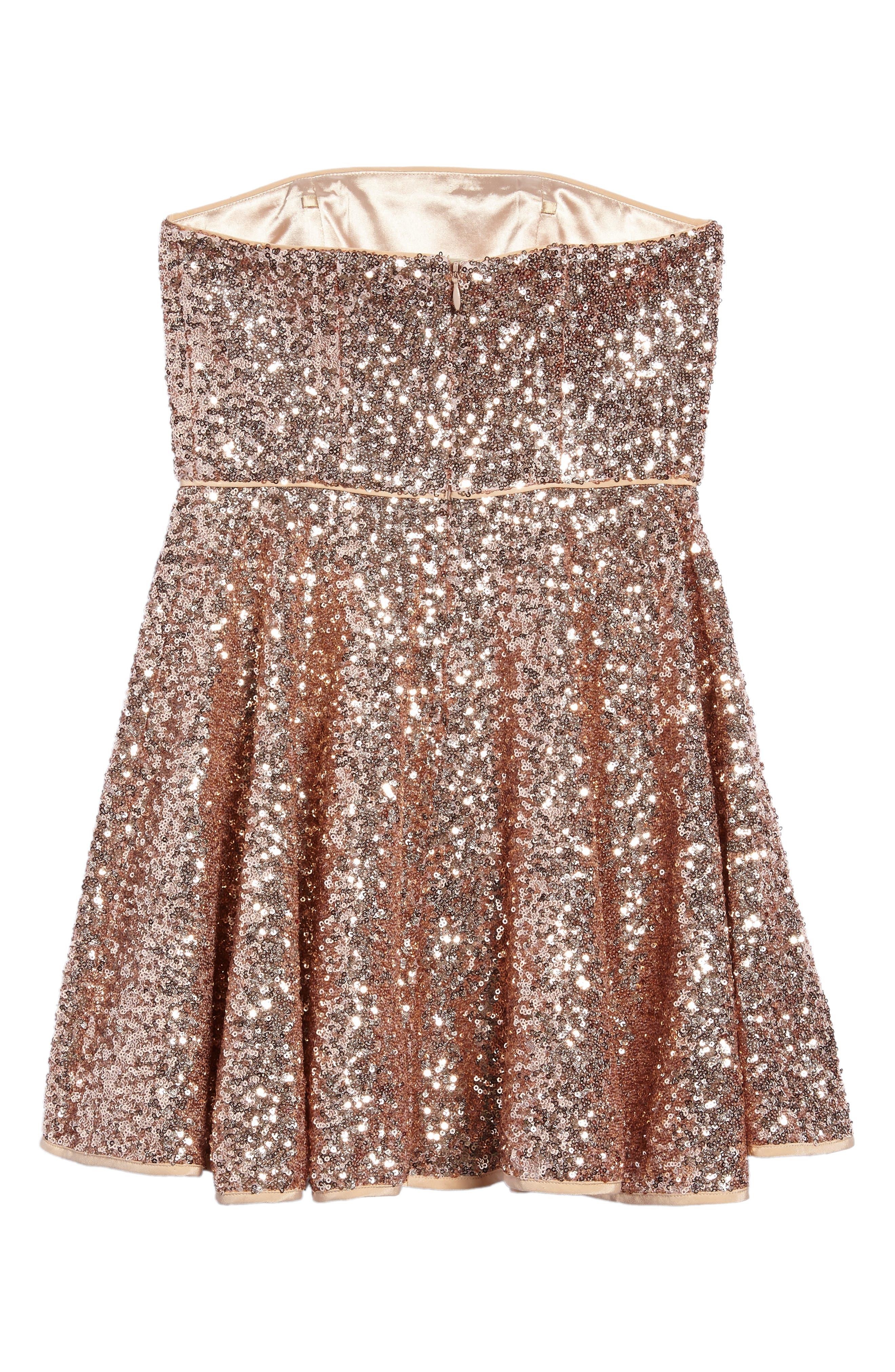 Ellie Sequin Strapless Dress,                             Alternate thumbnail 3, color,                             Rose Gold