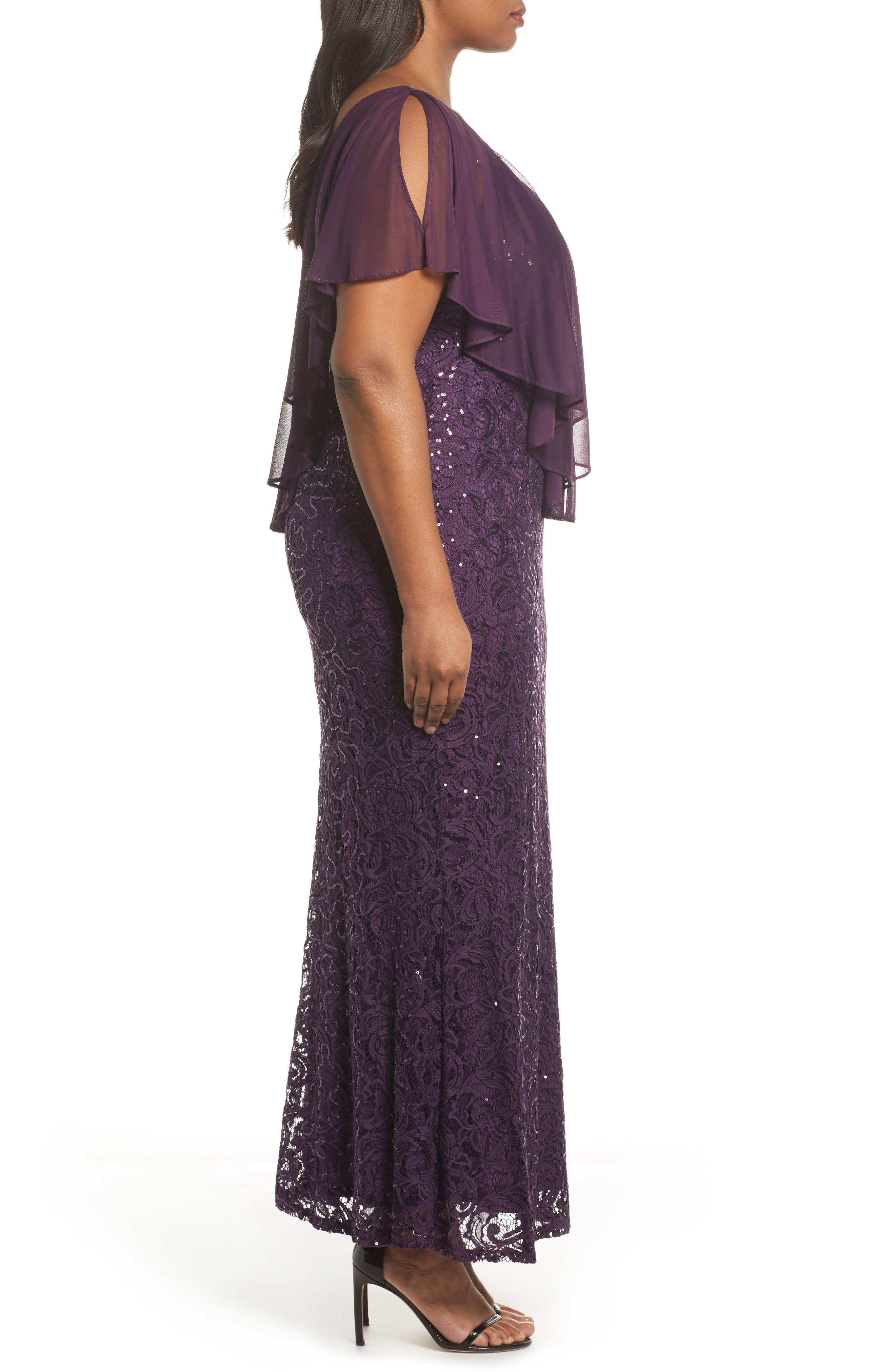 Alternate Image 3  - Marina Capelet Sequin Lace A-Line Gown (Plus Size)