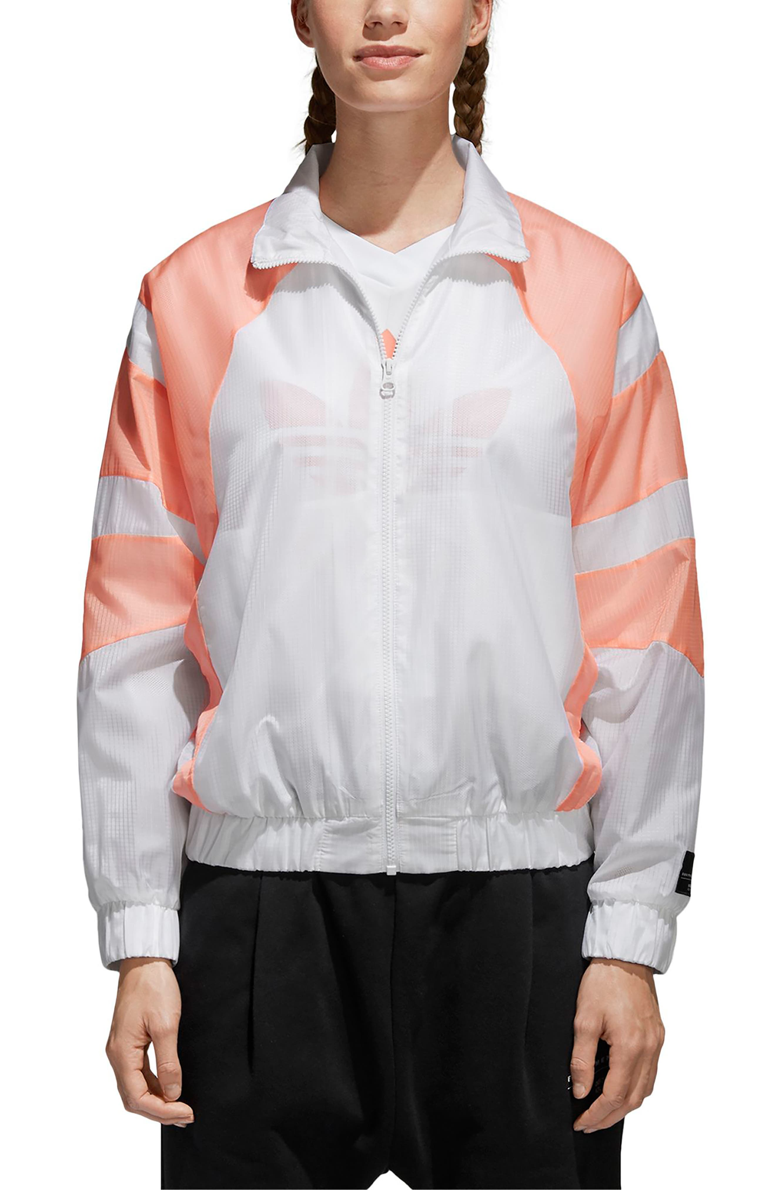 EQT Track Jacket,                         Main,                         color, White/ Chalk Coral