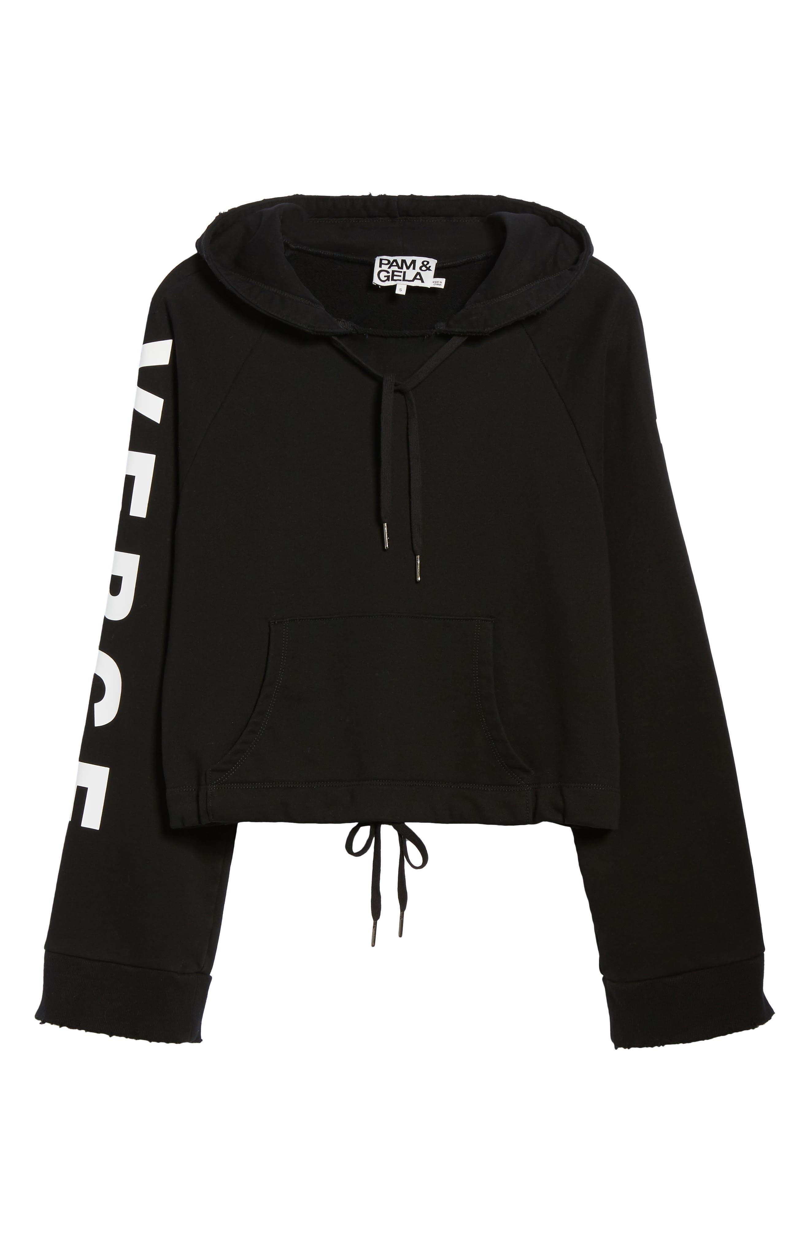 Girl on the Verge Crop Sweatshirt,                             Alternate thumbnail 6, color,                             Black