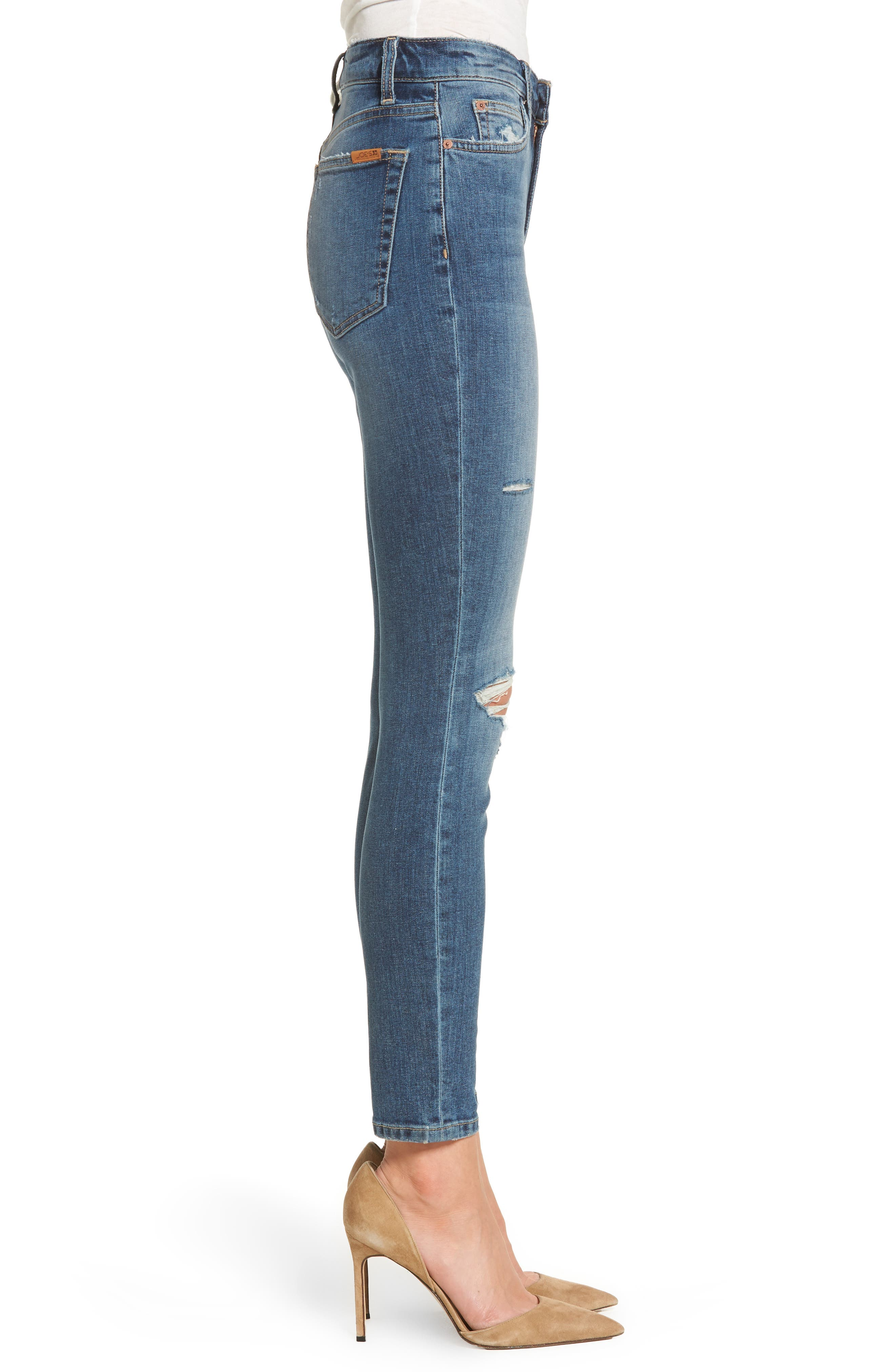Charlie High Waist Ankle Skinny Jeans,                             Alternate thumbnail 3, color,                             Kandie