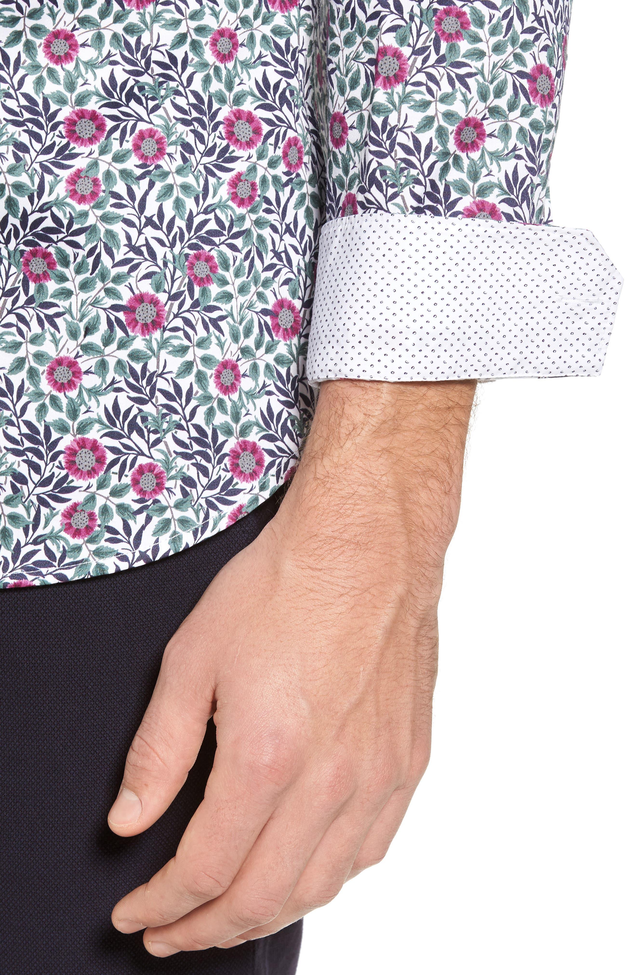 Orense Floral Print Slim Fit Shirt,                             Alternate thumbnail 2, color,                             Green