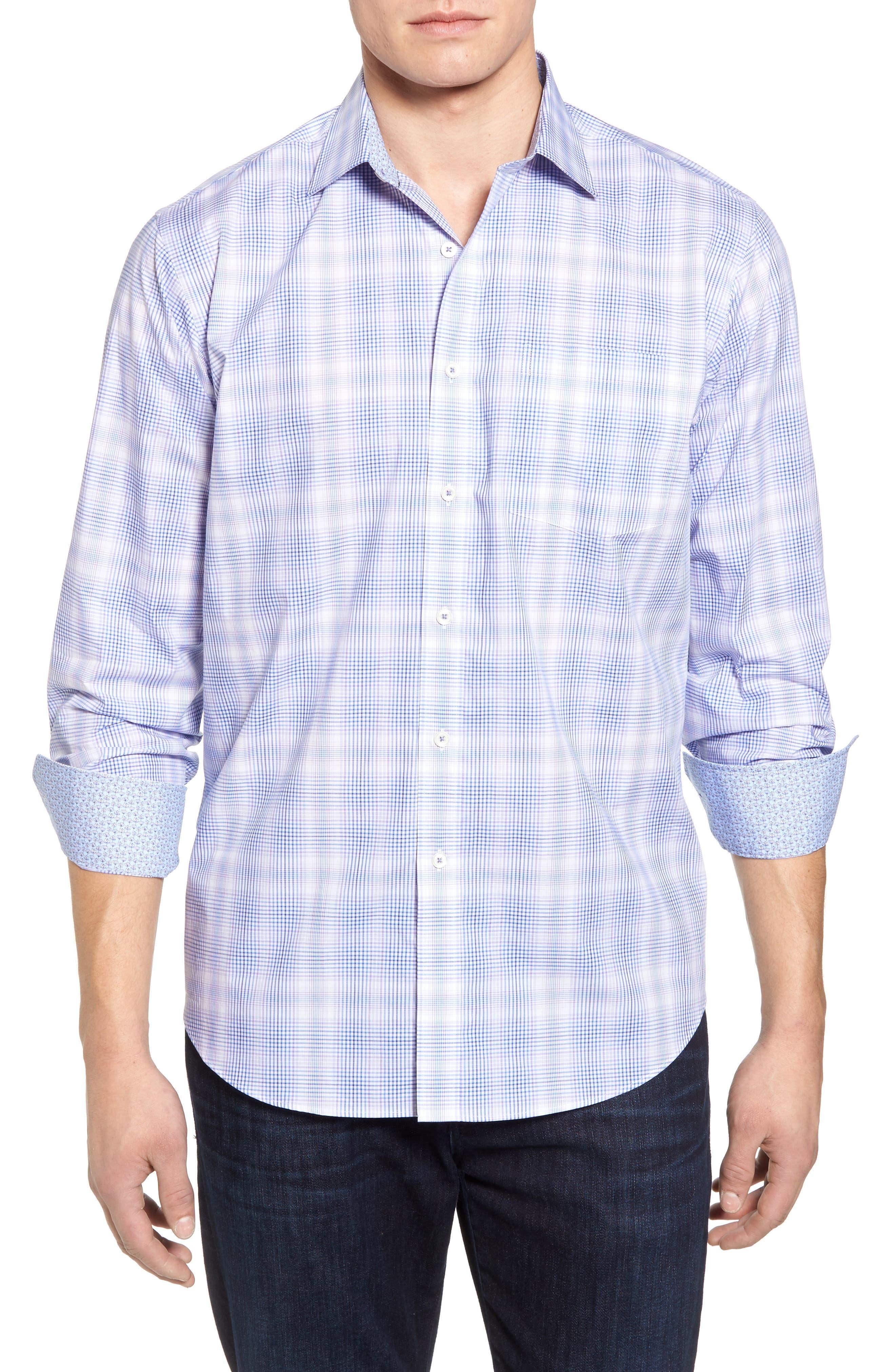 Classic Fit Plaid Sport Shirt,                         Main,                         color, Lilac