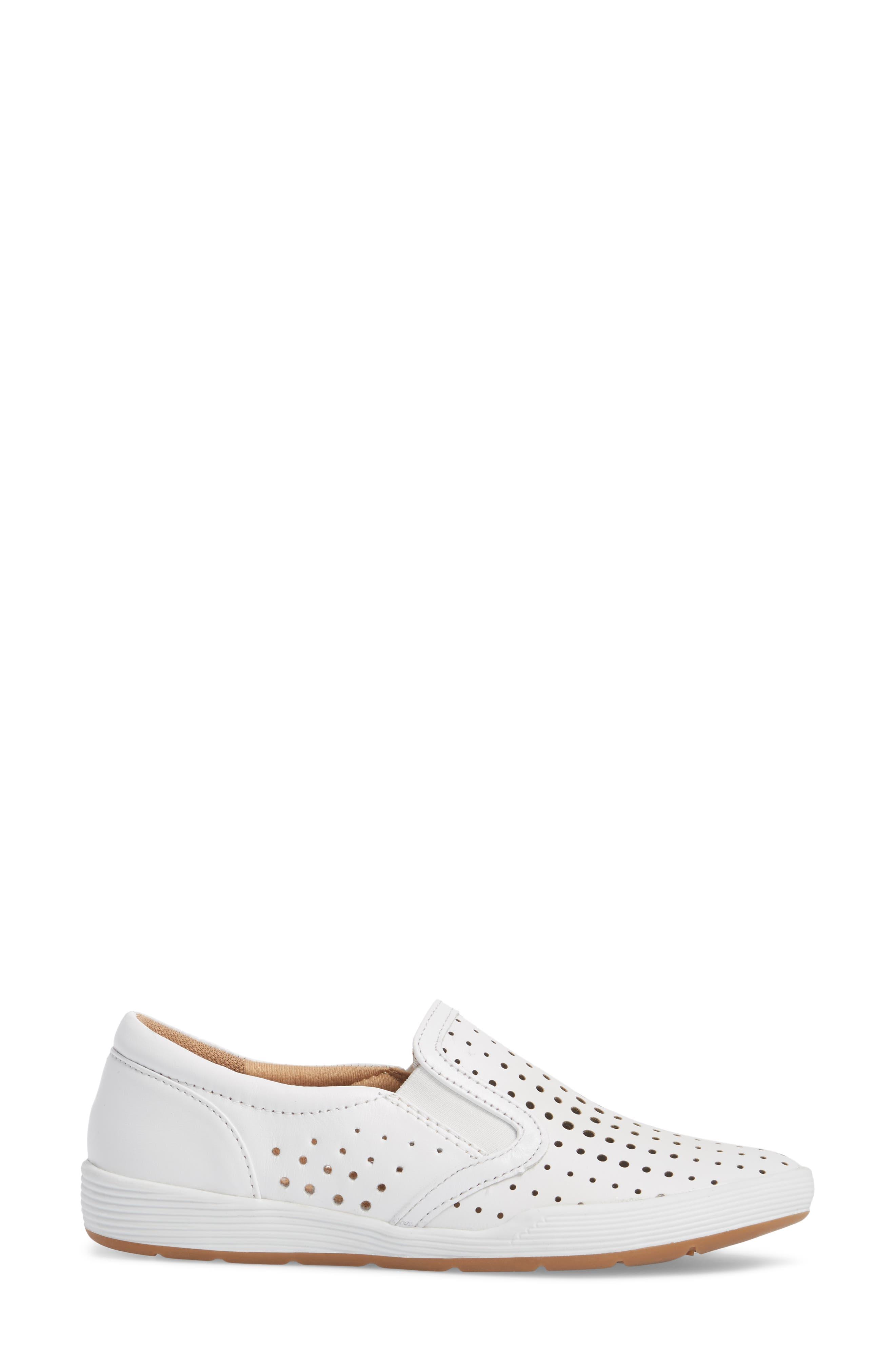 Lyra Perforated Slip-On Sneaker,                             Alternate thumbnail 3, color,                             White Leather