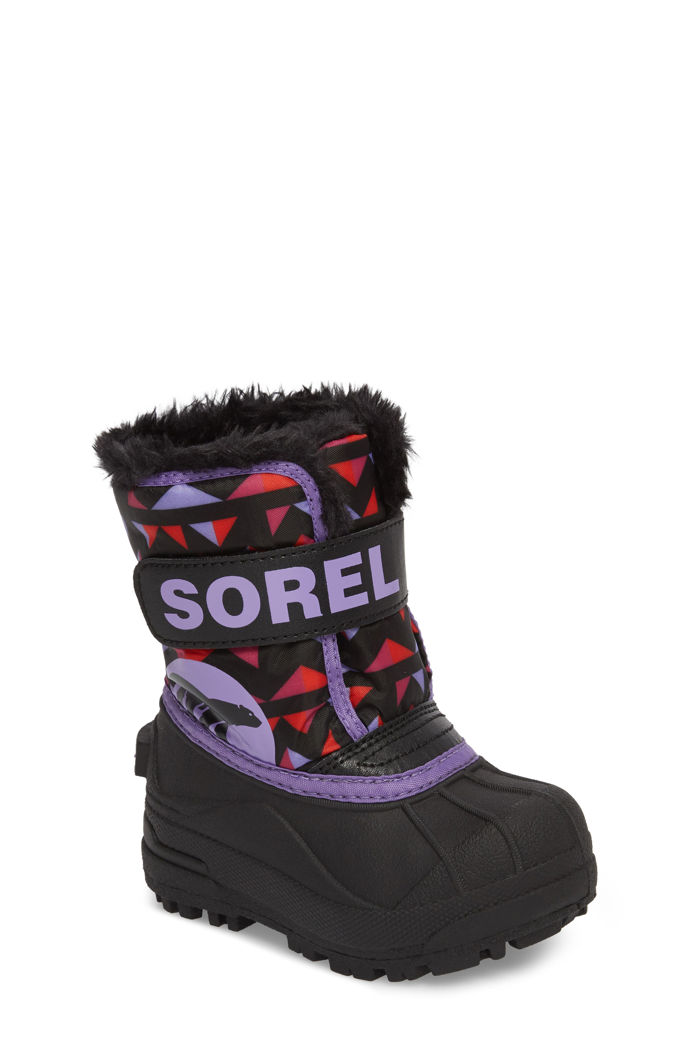 Children's Snow Commander Insulated Waterproof Boot,                             Main thumbnail 1, color,                             Black/ Paisley Purple