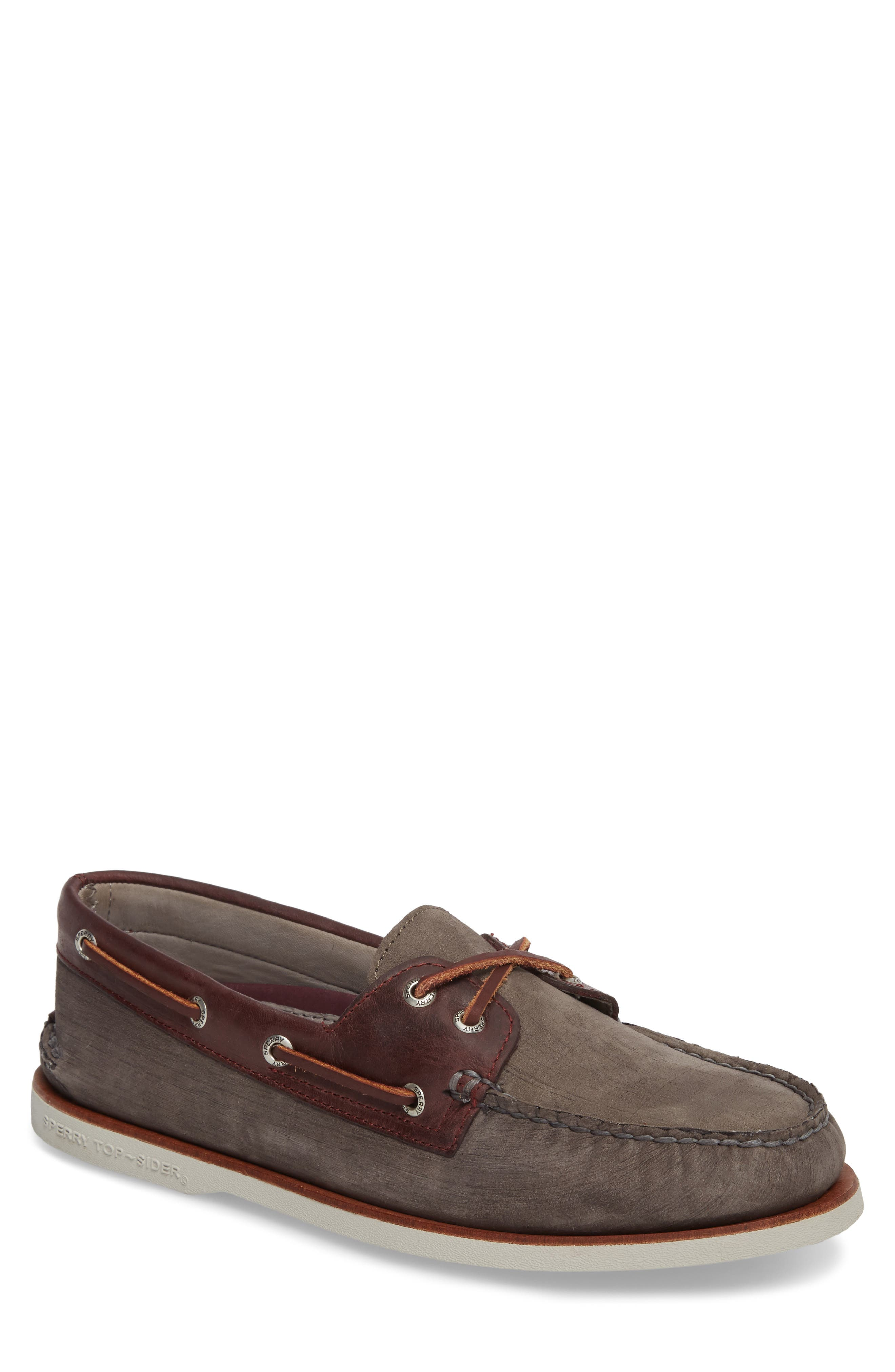 Gold Cup - Authentic Original Boat Shoe,                             Main thumbnail 1, color,                             Grey/ Burgundy Leather Nubuck