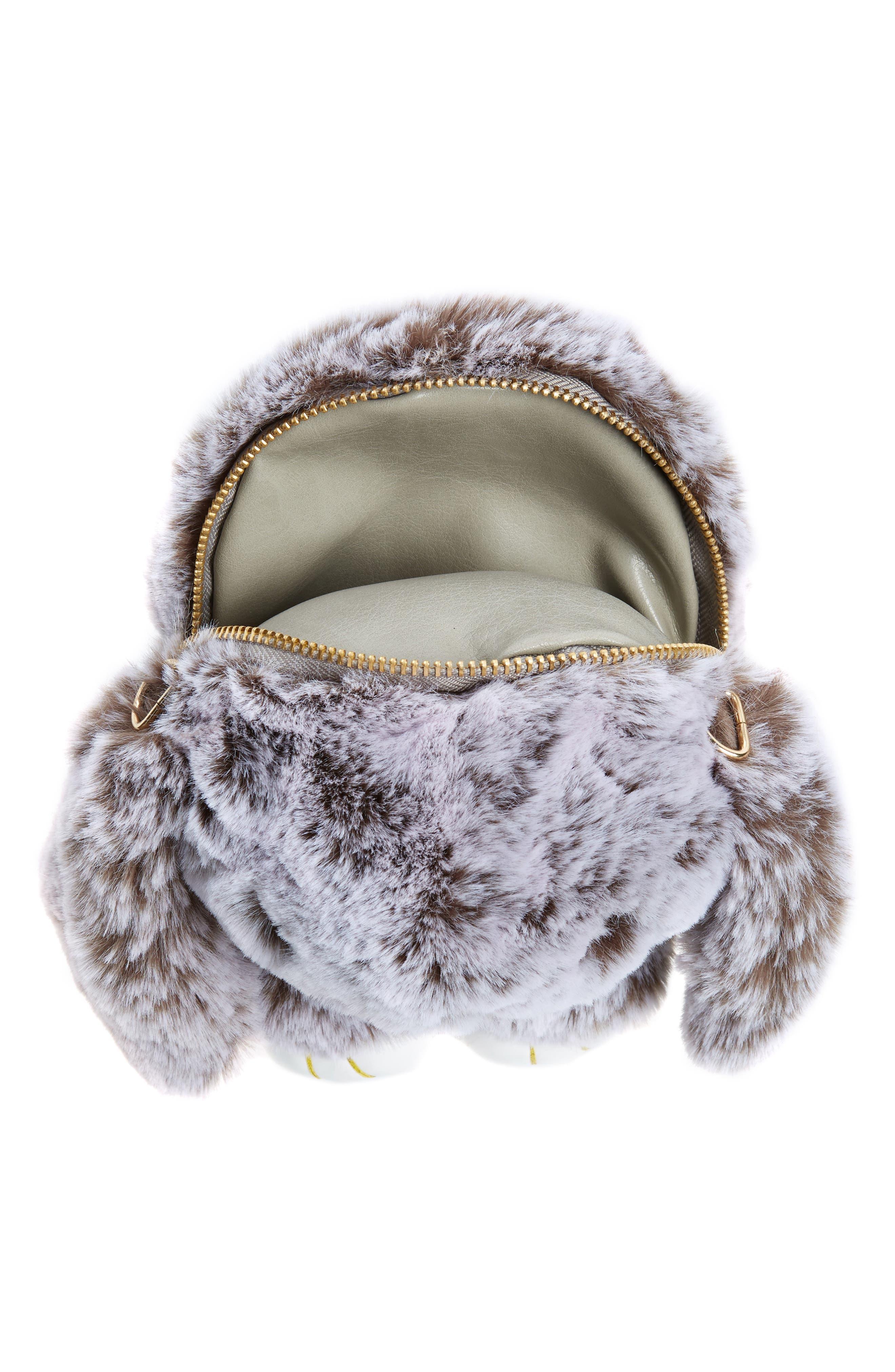 Cara Plush Bunny Backpack,                             Alternate thumbnail 3, color,                             Grey