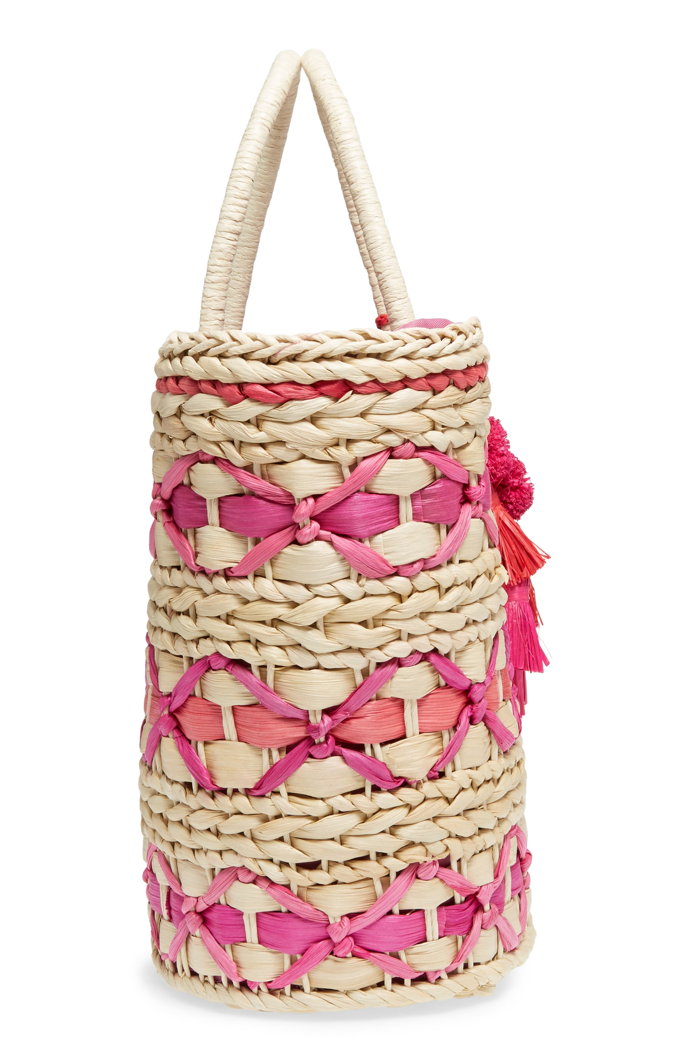 Color Pop Woven Tote,                             Alternate thumbnail 5, color,                             Natural