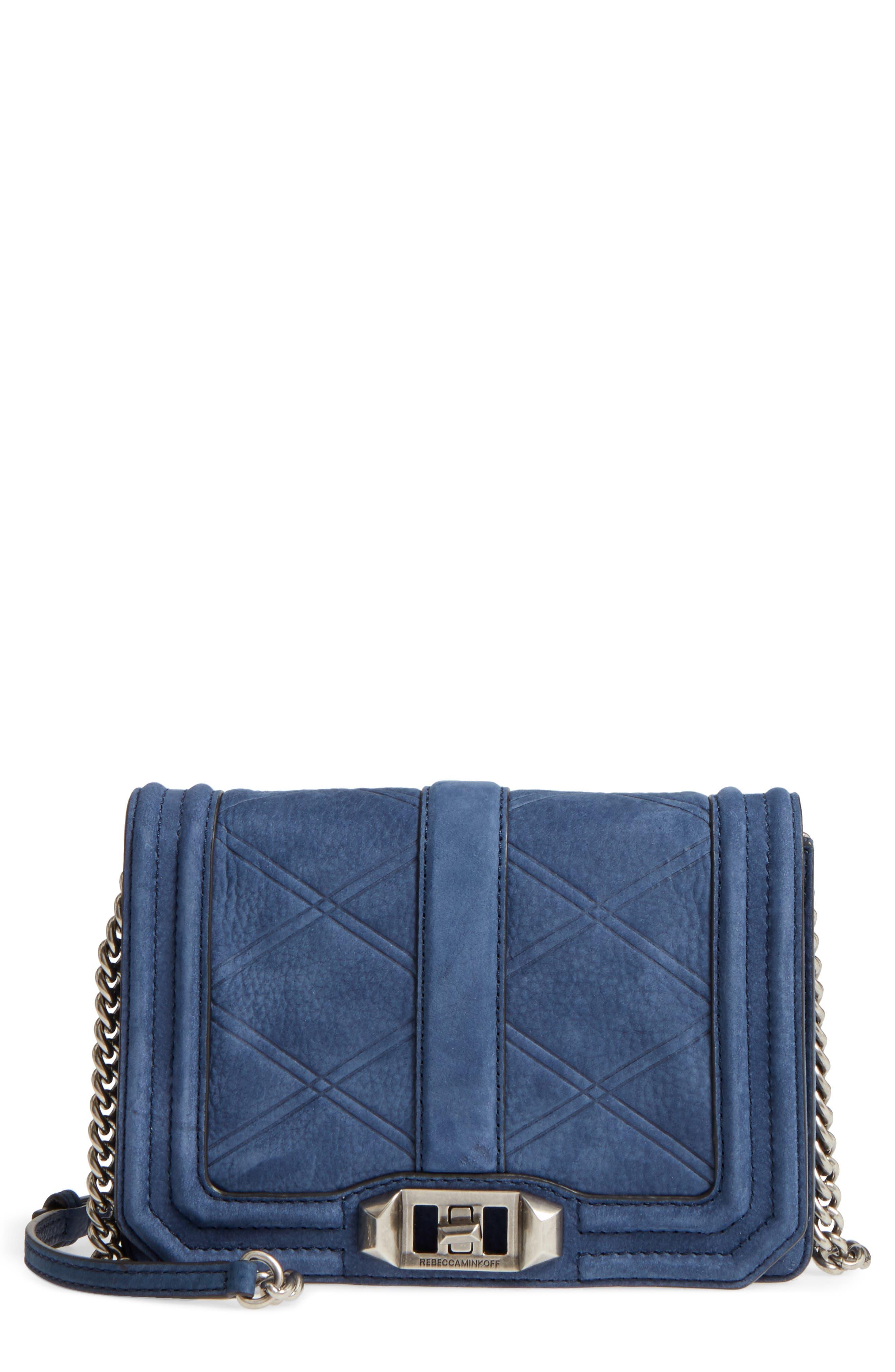 Small Love Nubuck Leather Crossbody Bag,                         Main,                         color, True Navy