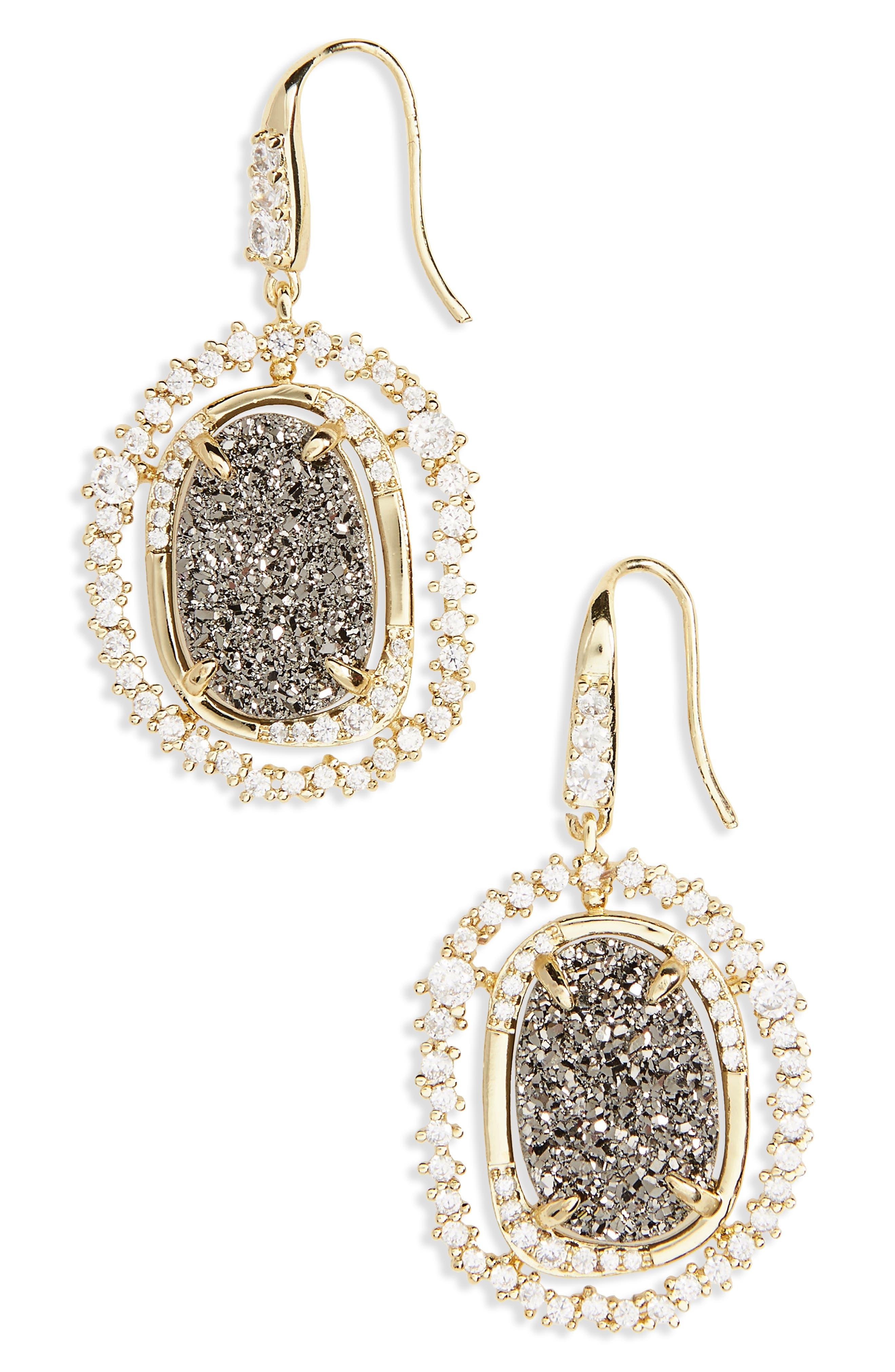 Gina Drop Earrings,                         Main,                         color, Grey Druzy/ Gold