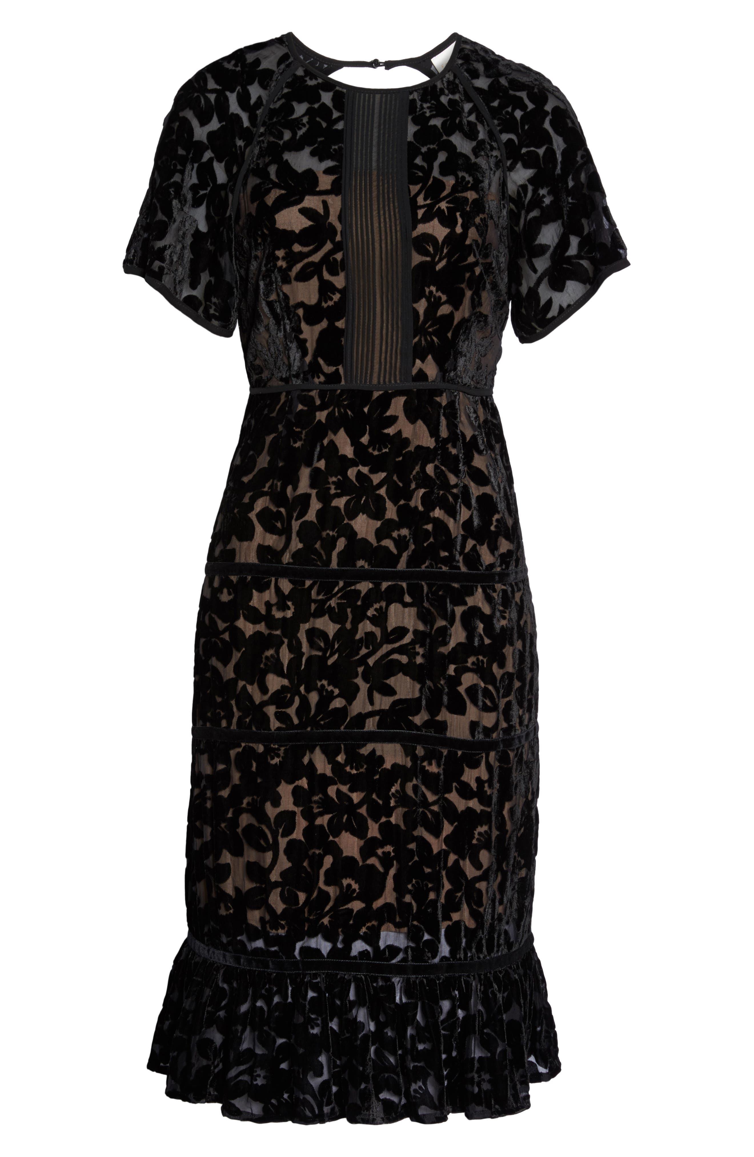 Ingrid Velvet Devoré Midi Dress,                             Alternate thumbnail 6, color,                             Black
