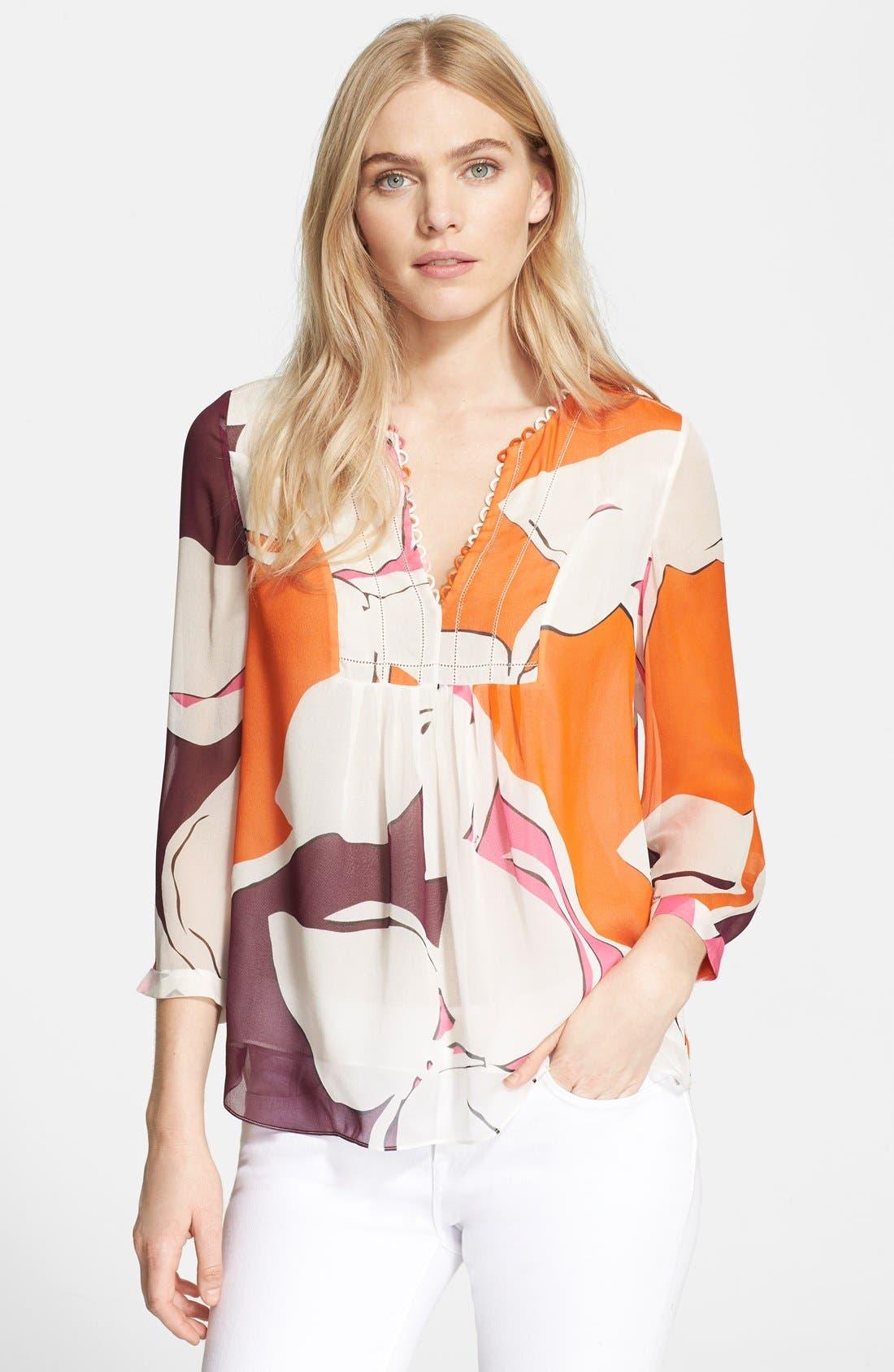 'Camden' Floral Print Silk Top,                         Main,                         color, Eden Garden Multi