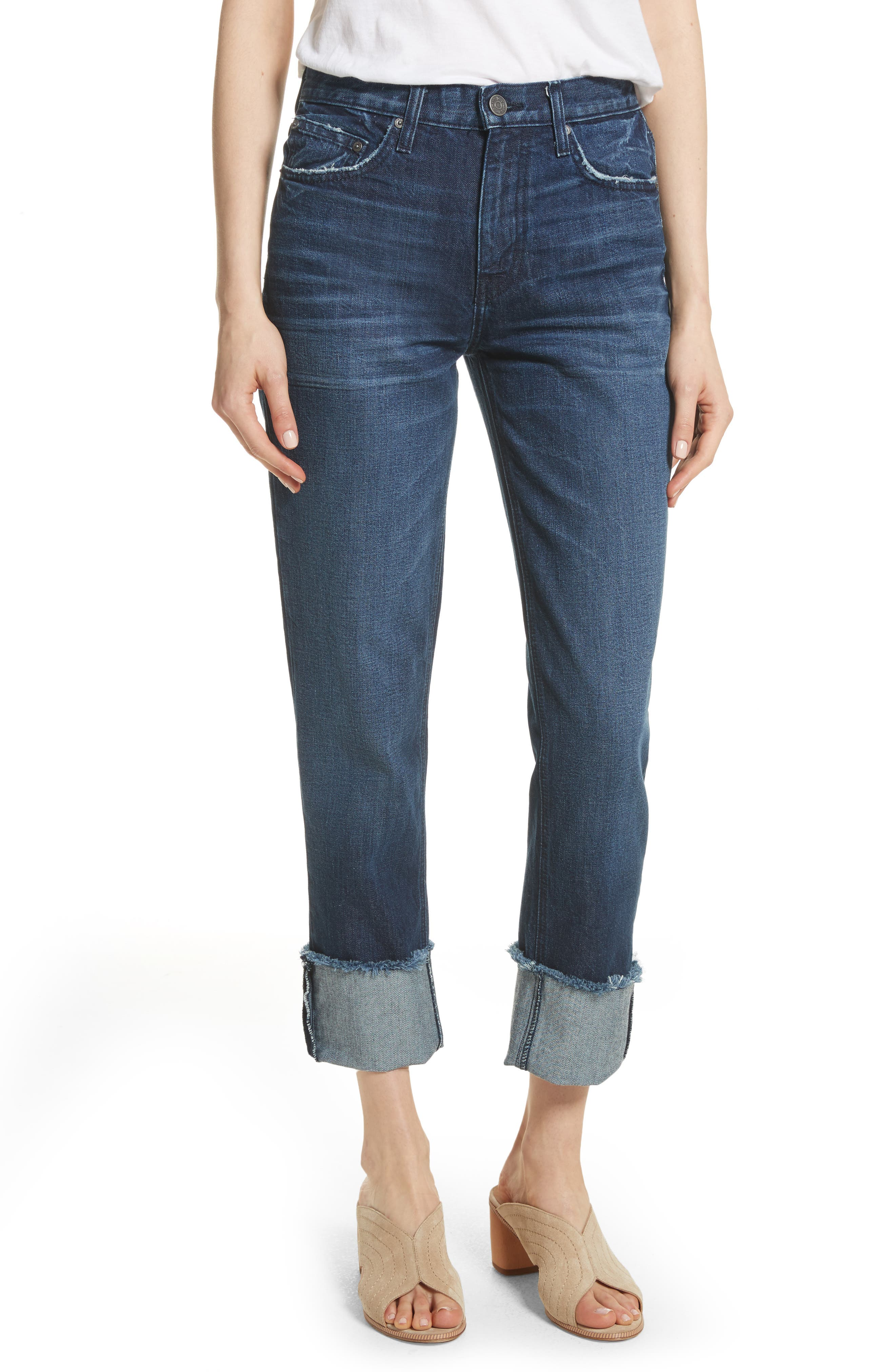Josie Straight Leg Crop Cuff Jeans,                             Main thumbnail 1, color,                             Danseur
