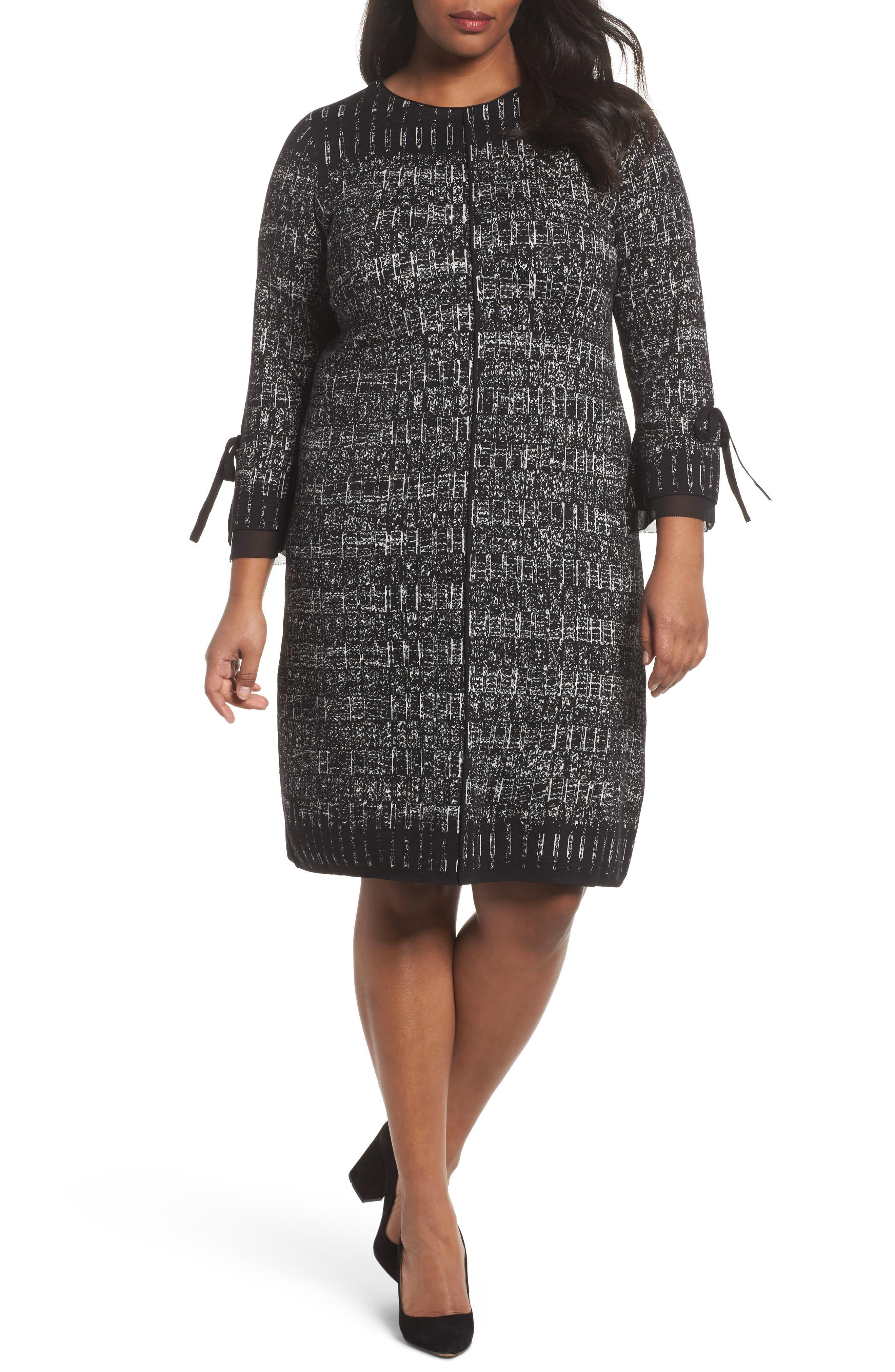 Alternate Image 1 Selected - NIC+ZOE Ruffle Cuff Sweater Dress (Plus Size)