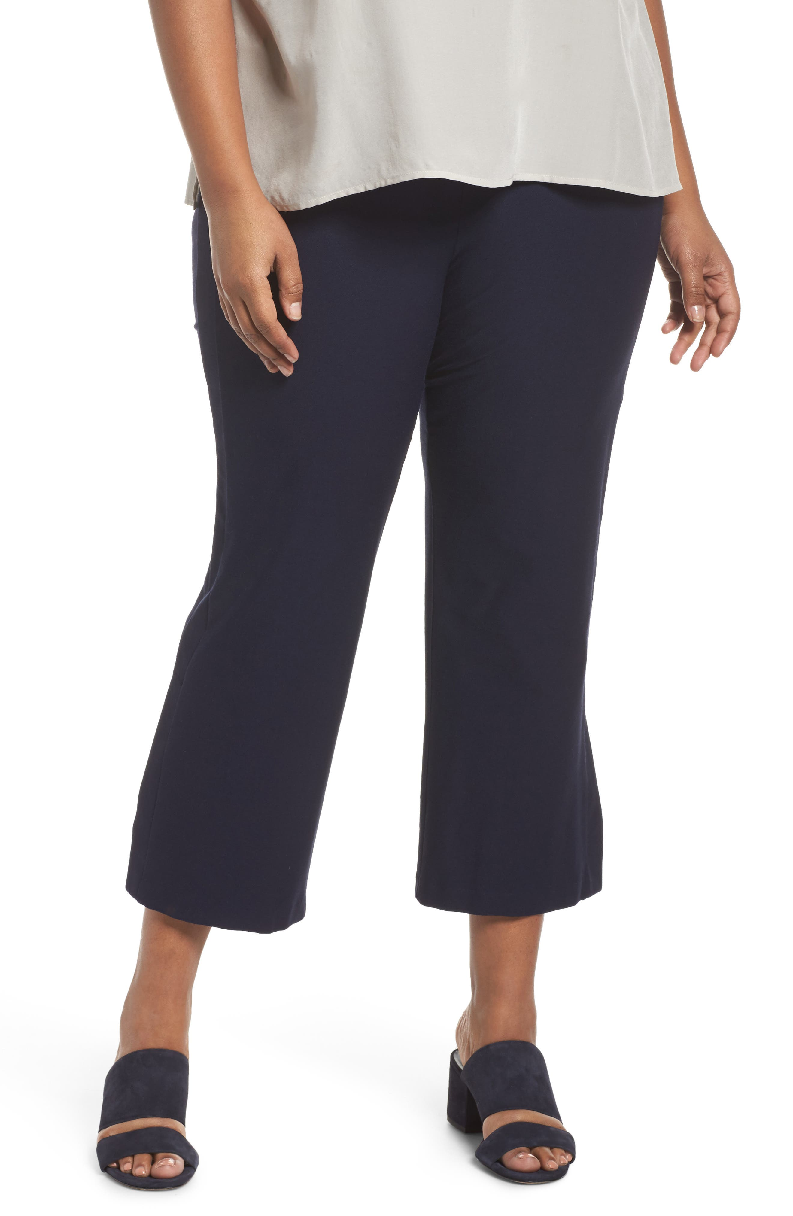 Alternate Image 1 Selected - Eileen Fisher Stretch Bootcut Pants (Plus Size)