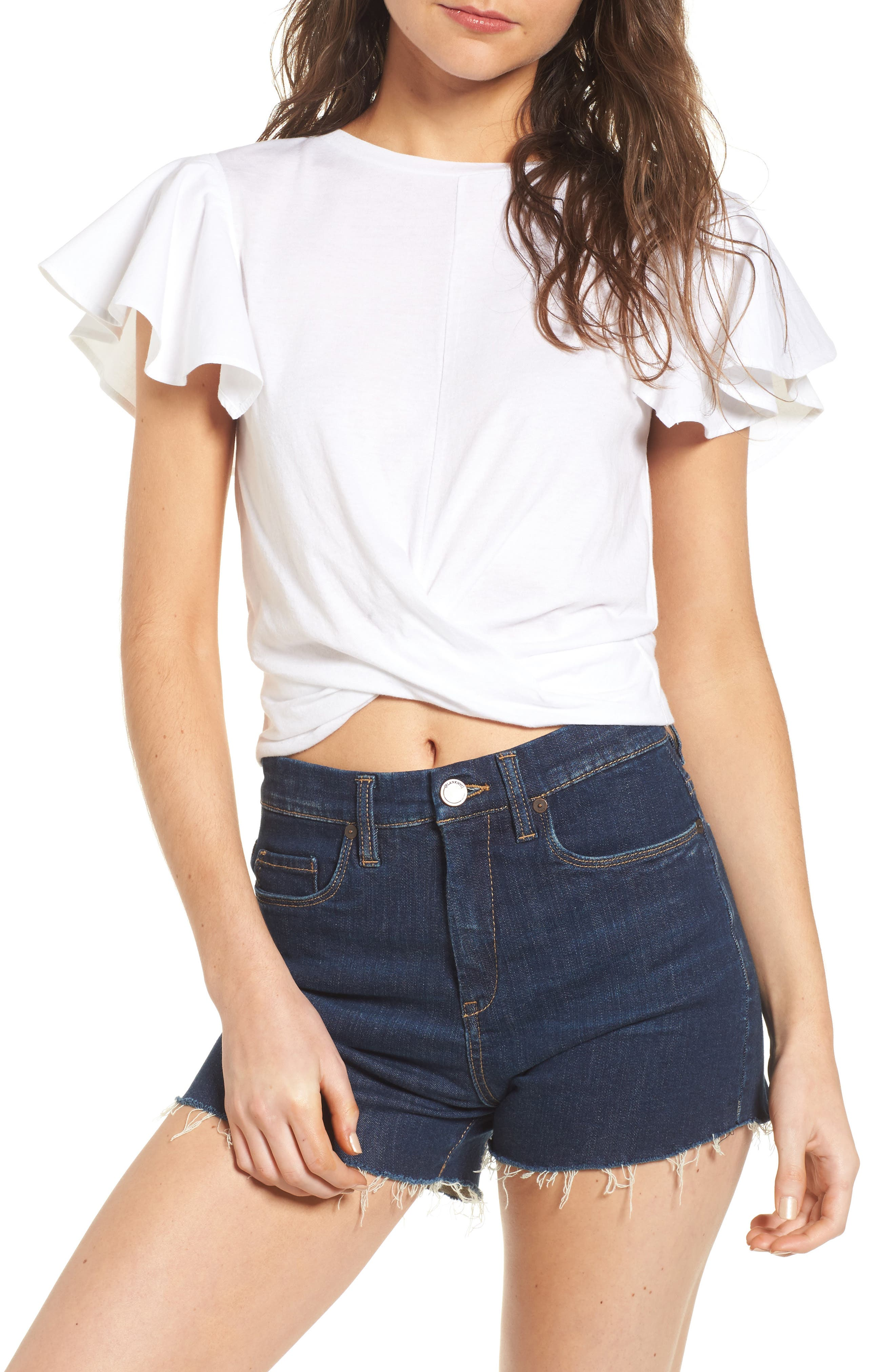 BP. Ruffle Sleeve Twist Hem Tee