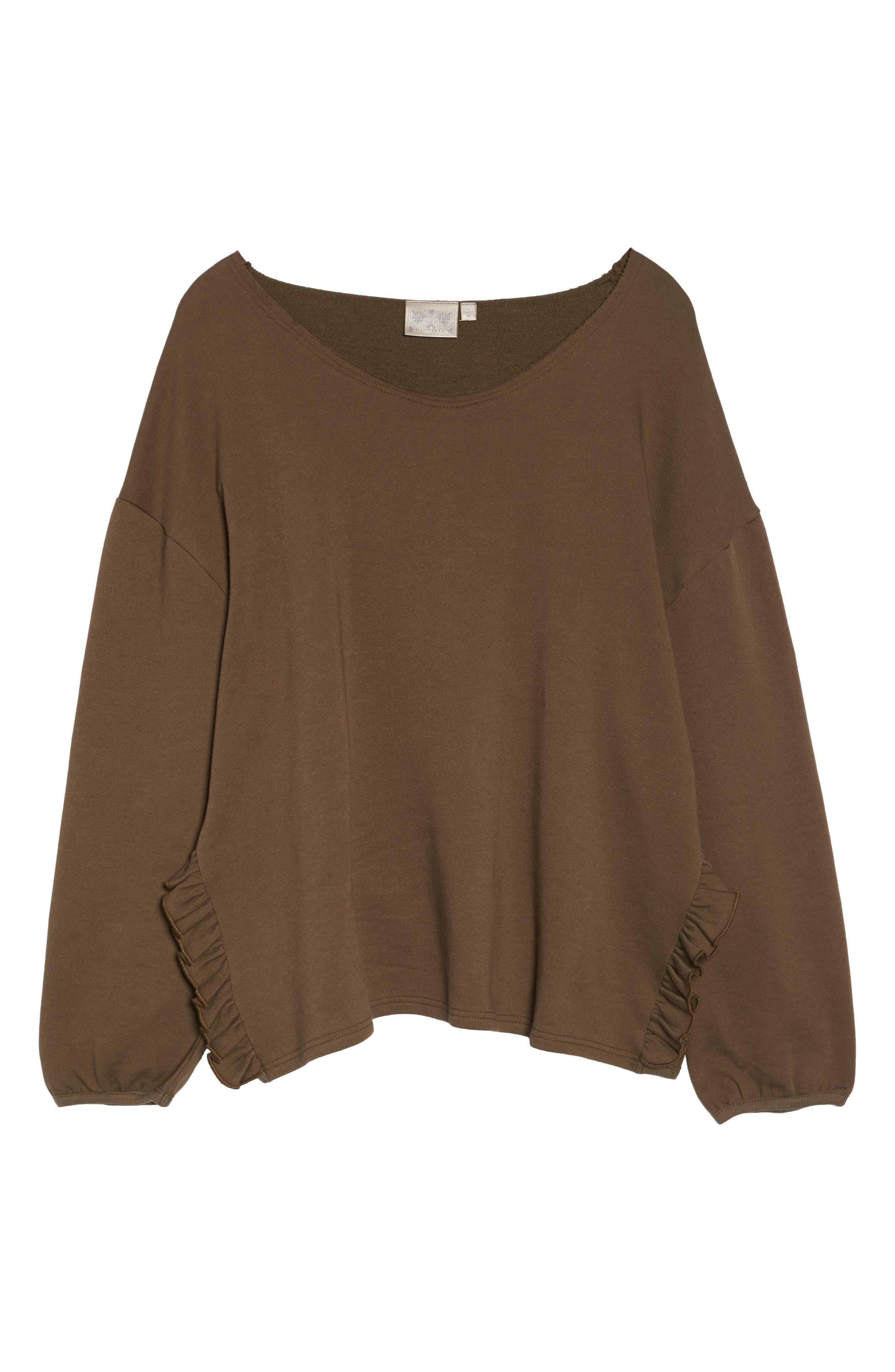 Ruffle Sleeve Sweatshirt,                             Alternate thumbnail 6, color,                             Tree Moss